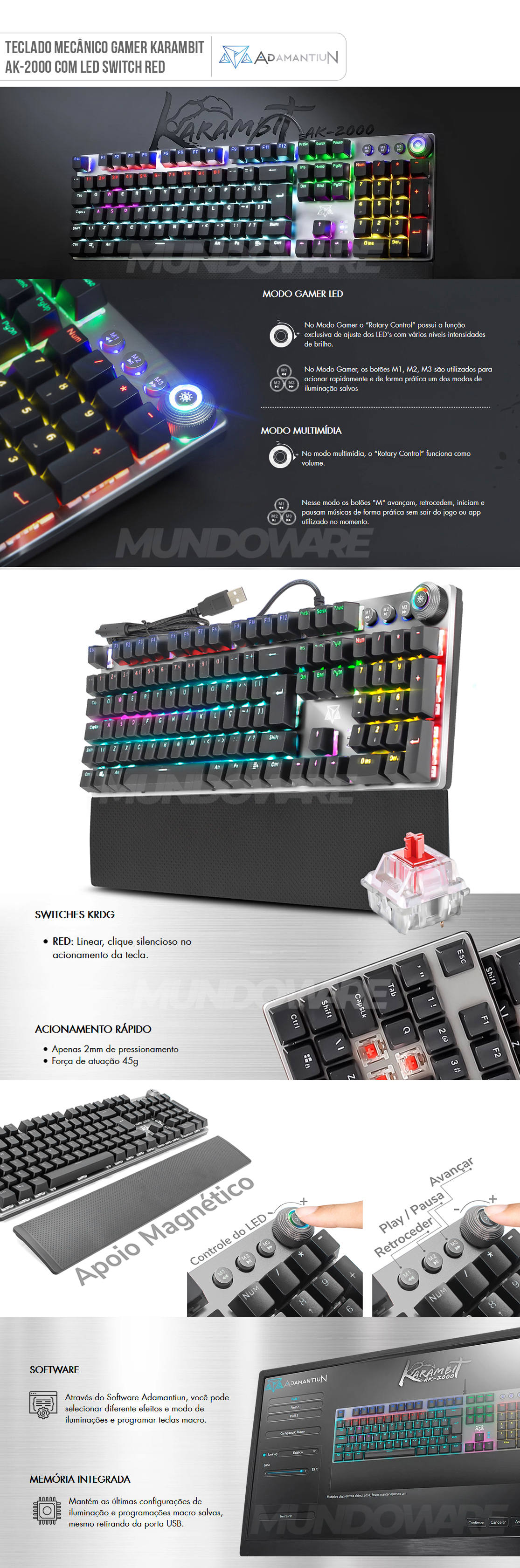 Teclado Mecânico Switch Red 1.5mm Full Anti-Ghosting Botão Modo Gamer 22 Efeitos LED ABNT2 Adamantiun Karambit AK-2000V
