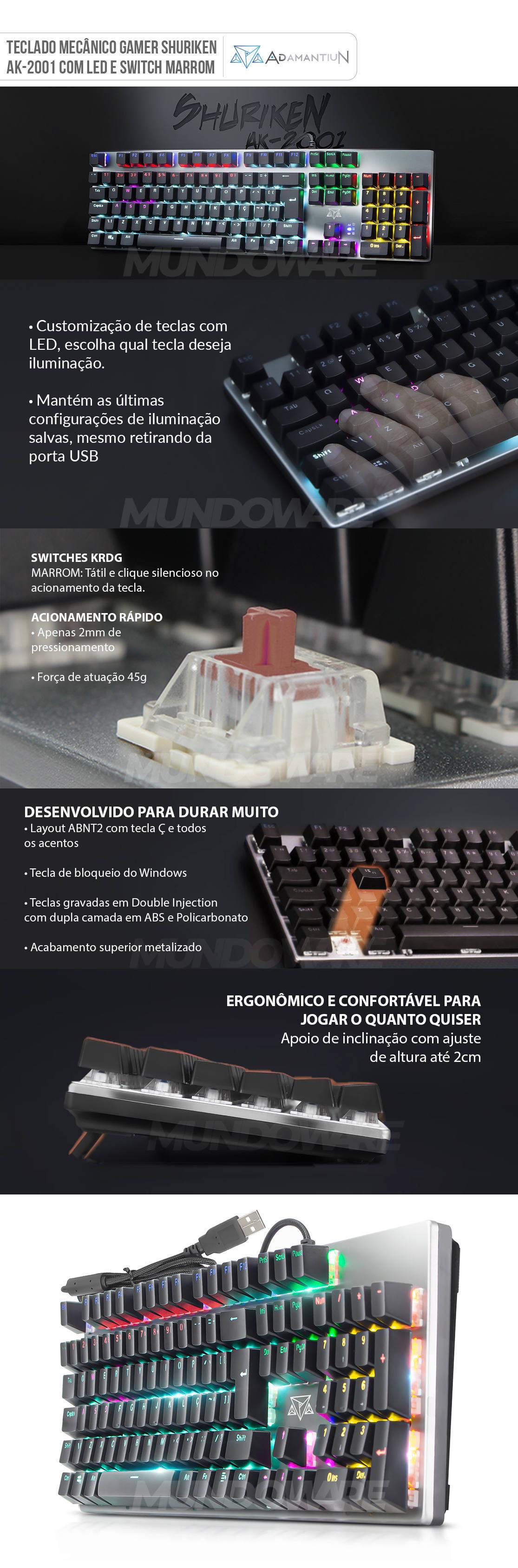 Teclado Mecânico Gamer Full Anti-Ghosting Switch Marrom KRGD 2mm LED CyberPunk ABNT2 Adamantiun Shuriken AK-2001
