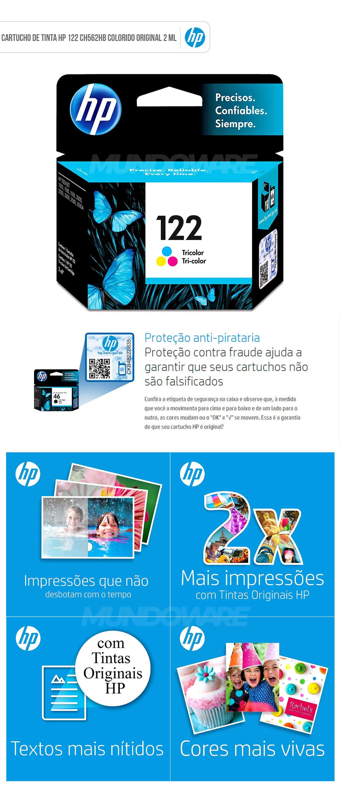 Cartucho de Tinta HP 122 Colorido CH562HB para HP Deskjet 1000 J110a 2000 J210a 2050 J510a 3050 J610a Original 2 ML