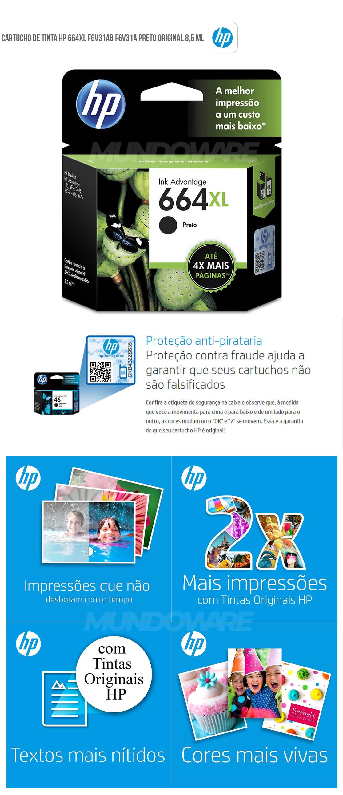 Cartucho de Tinta HP 664XL Preto F6V31AB F6V31A para HP Deskjet 1115 2136 3836 5076 Original 8,5 ML Alto Rendimento