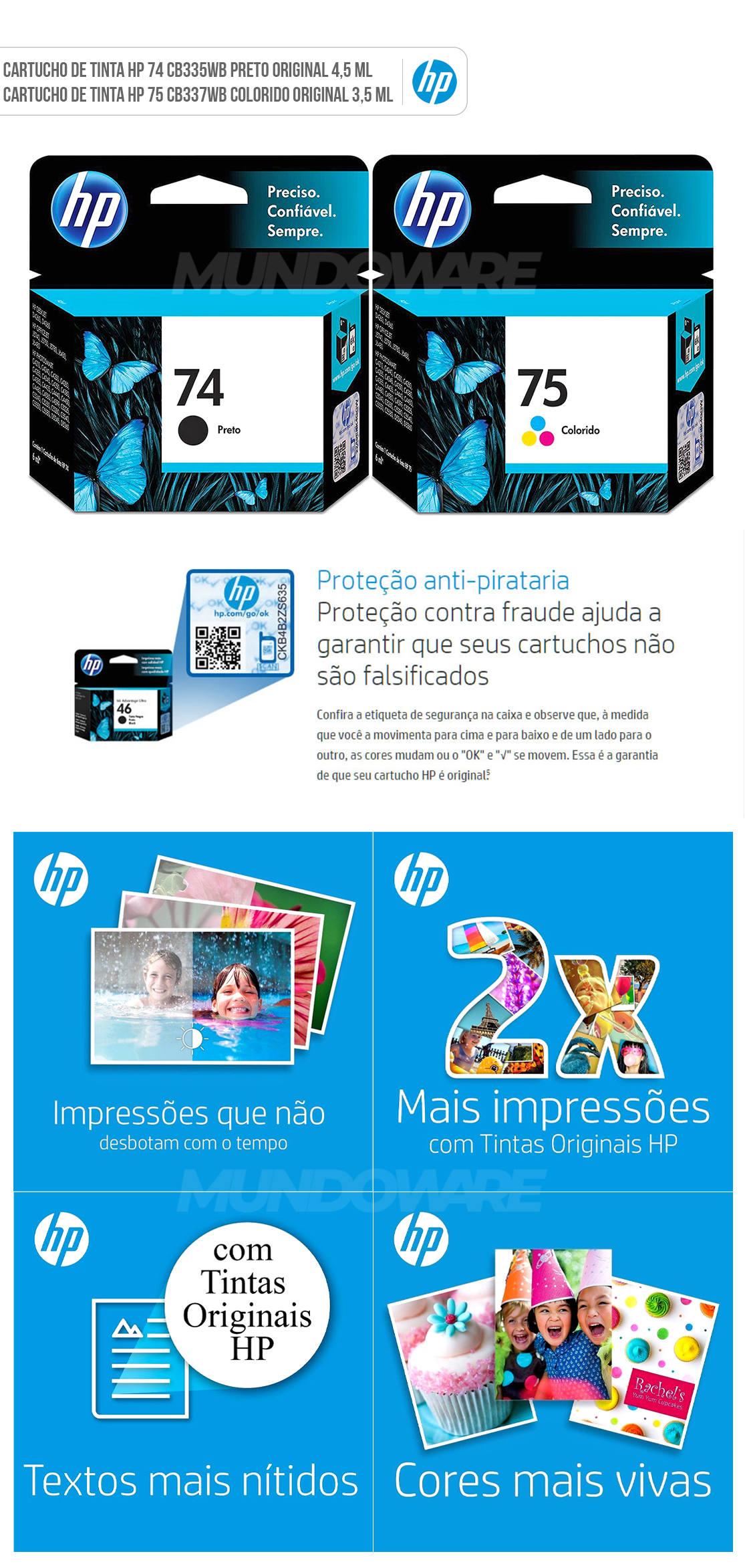 Kit Cartucho de Tinta HP 74 Preto + 75 Colorido para HP Deskjet D4260 D4360 Photosmart C4280 C4480 C5280 C4424 C4440 C4524 Officejet J6400 J6424 Original
