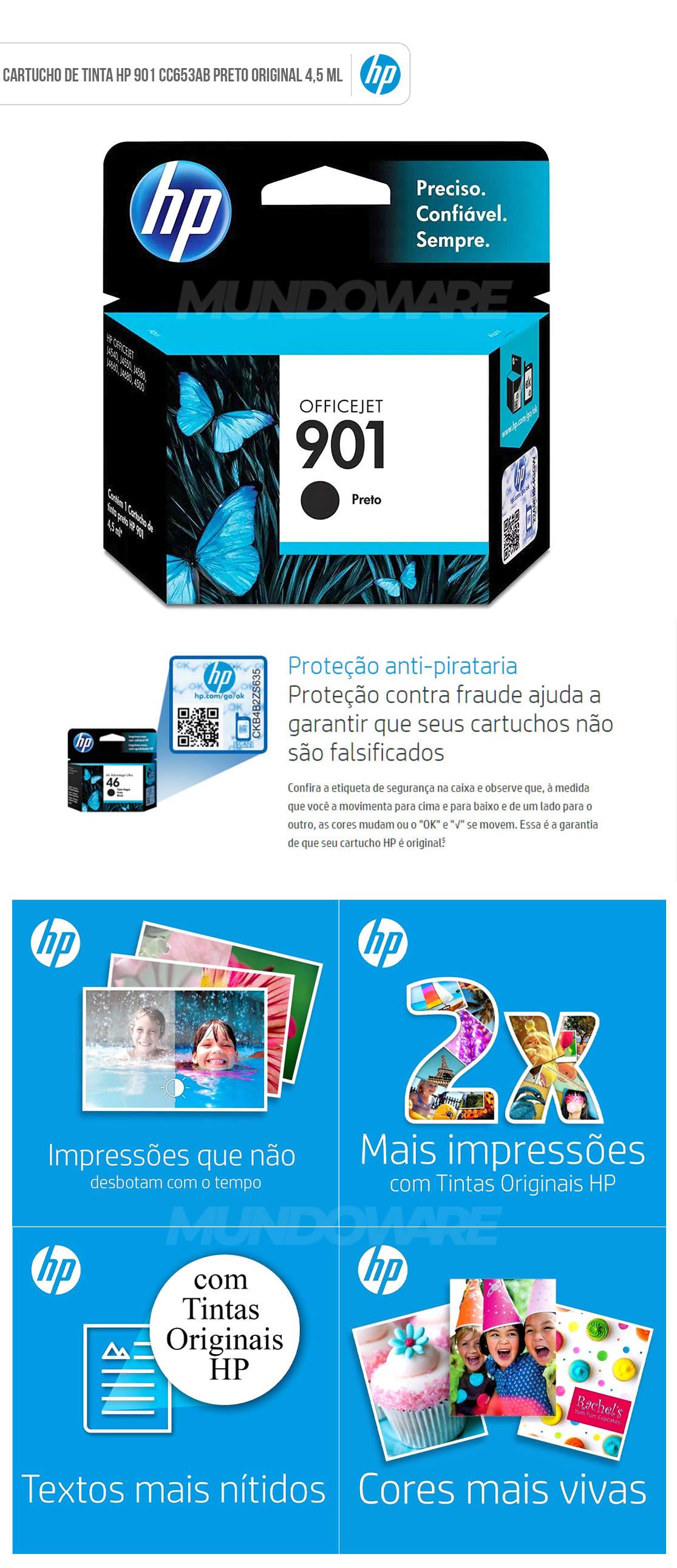 Cartucho de Tinta HP 901 Preto CC653AL CC653AB para HP Officejet J4660 J4524 J4550 J4580 J4680 G510a Original 4,5 ML