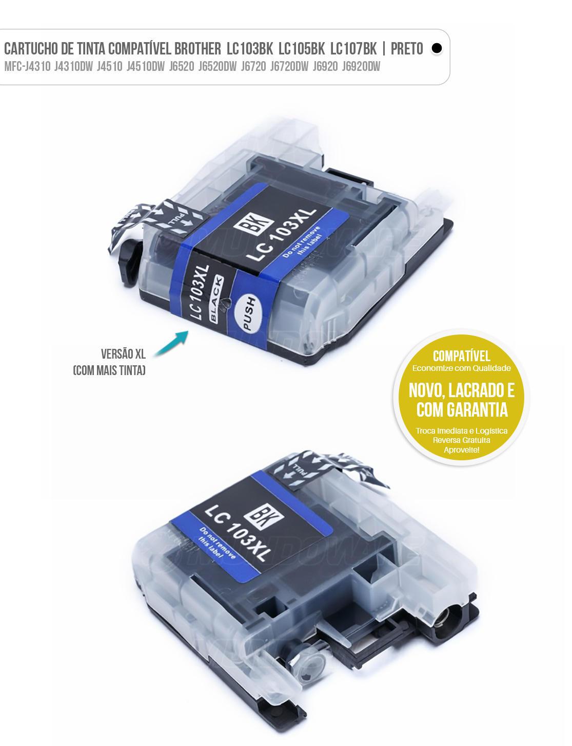 Cartucho de Tinta Compatível LC103 LC105 LC107 XL para Brother MFC-J4310DW J4610DW J6520DW J6720DW J6920 Preto