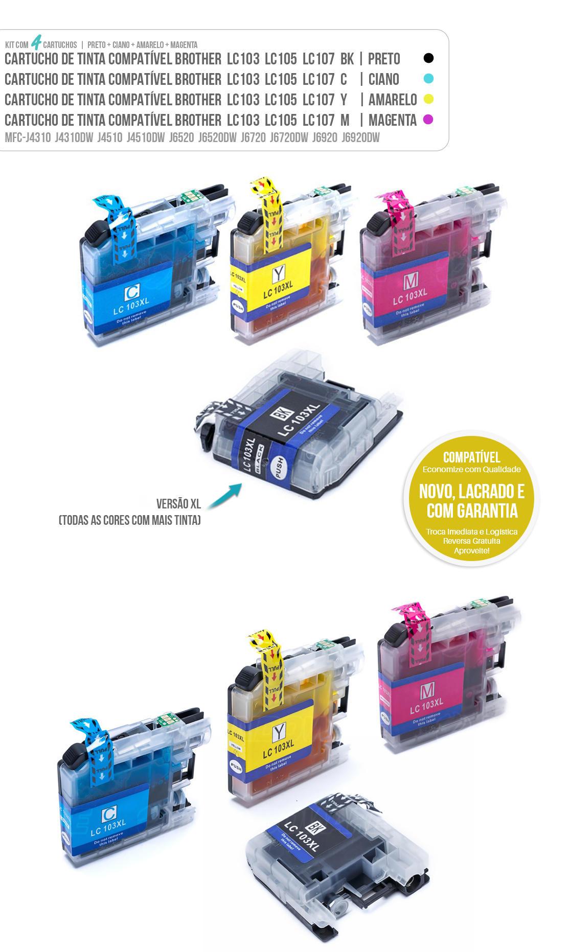 Kit Colorido de Cartucho de Tinta Compatível LC103xl LC105xl LC107xl para impressora Brother MFC-J4510 J4710DW J6520 J6720DW J6920DW