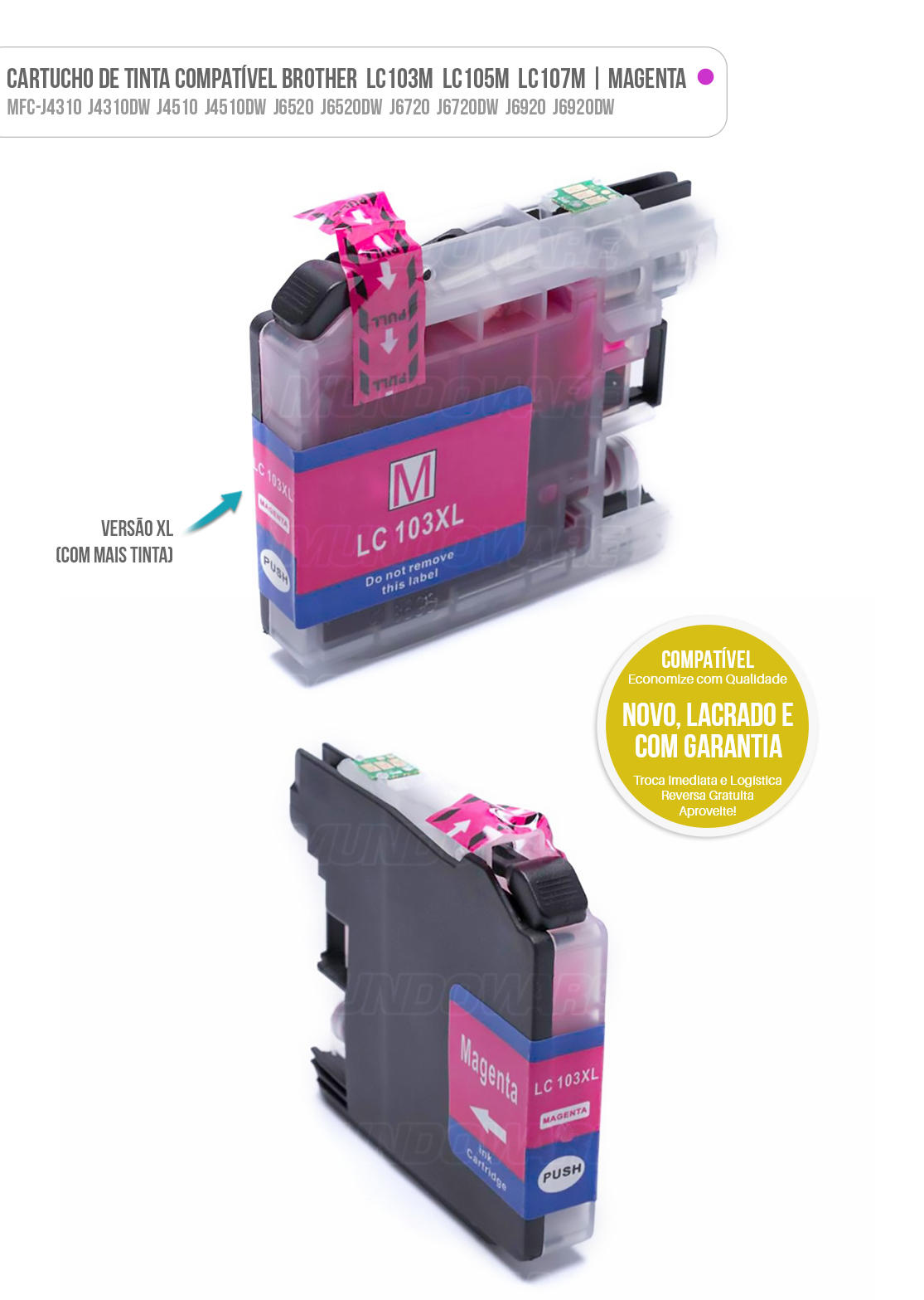Cartucho de Tinta Compatível LC103 LC105 LC107 XL para Brother MFC-J4510 J4710DW J6520 J6720DW J6920DW Magenta