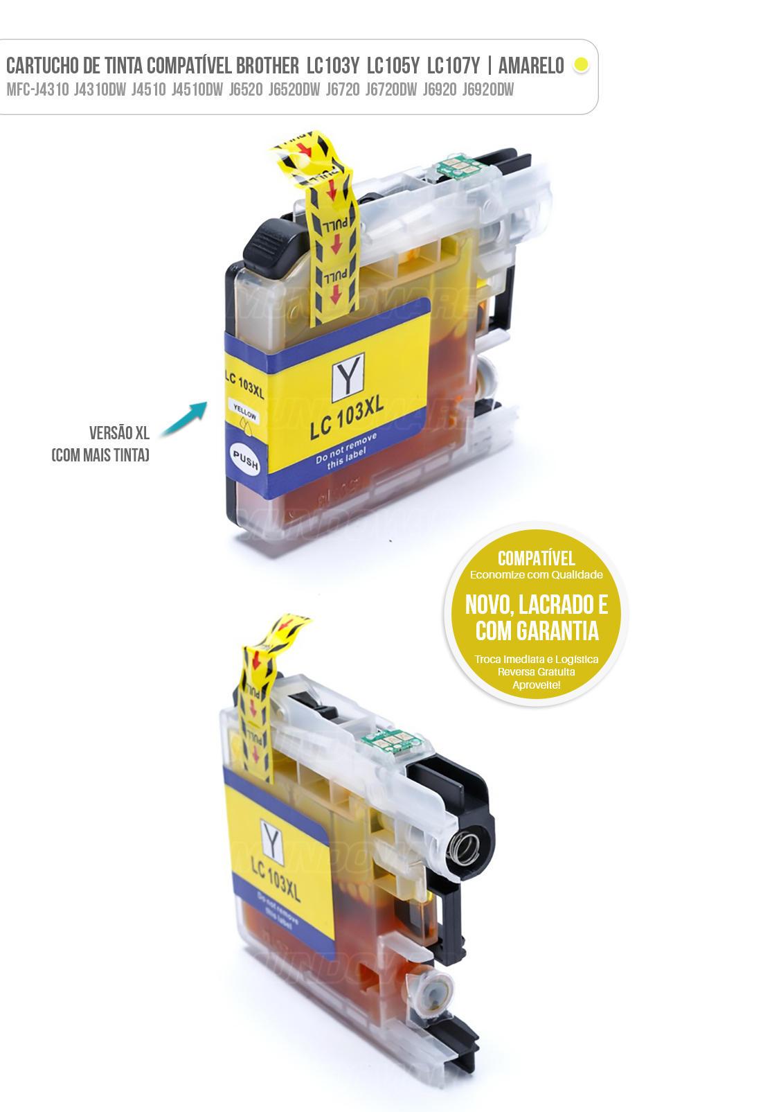 Cartucho de Tinta Compatível LC103 LC105 LC107 XL para Brother MFC-J4310 J4510 J4410 J4610 J6520 J6920 Amarelo