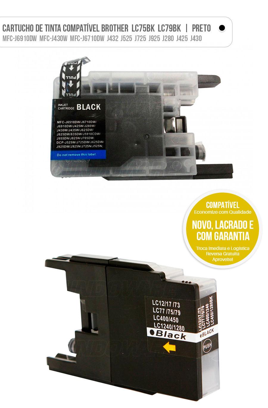 Cartucho de Tinta LC79BK LC75BK LC-79 LC-75 Brother Preto Black