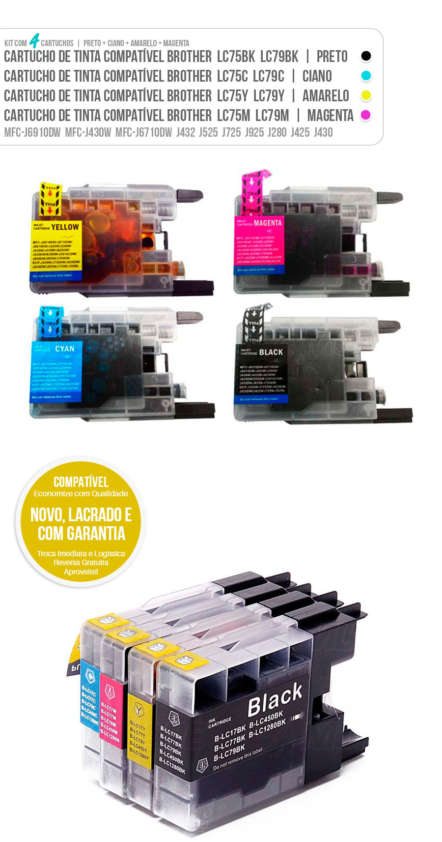 Cartucho de Tinta Kit Colorido LC79 LC75 LC-79 LC-75 Brother CMYK