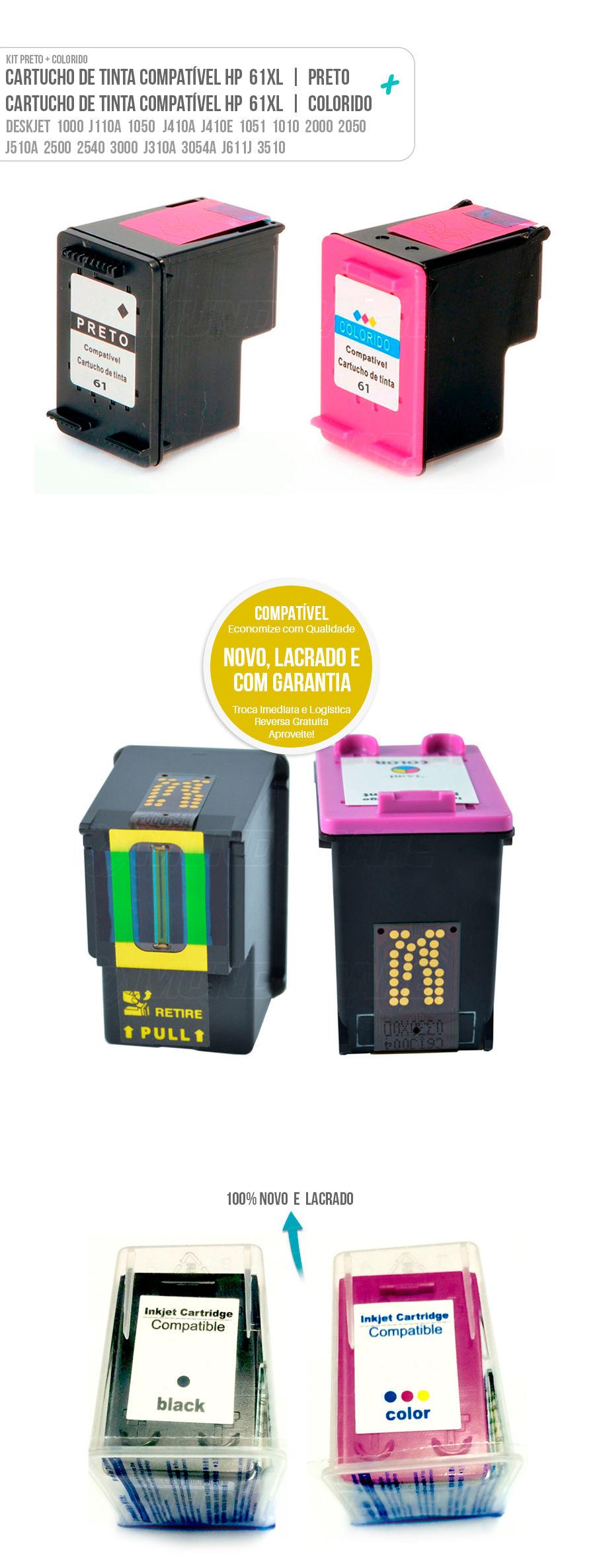 Cartucho de Tinta Deskjet Deskjet 1000 J110A 1050 J410A J410E 1051 1010 2000 2050 J510A 2500 2540 3000 J310A 3054A J611J 3510