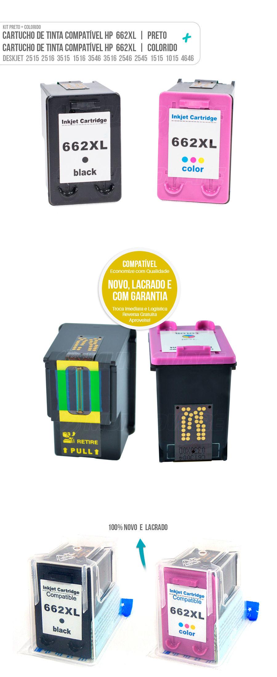 Cartucho de Tinta Deskjet Colorido Color Black 662 662xl