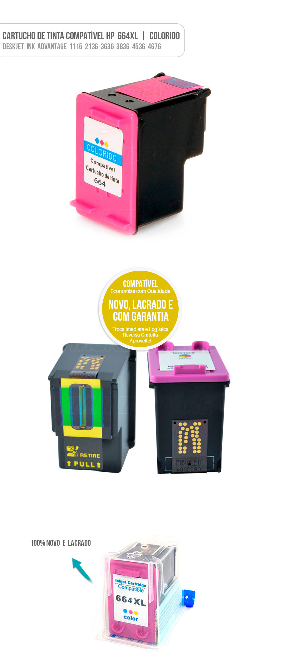 Cartucho de Tinta Deskjet  Ink  Advantage  1115  2136  3636  3836  4536  4676