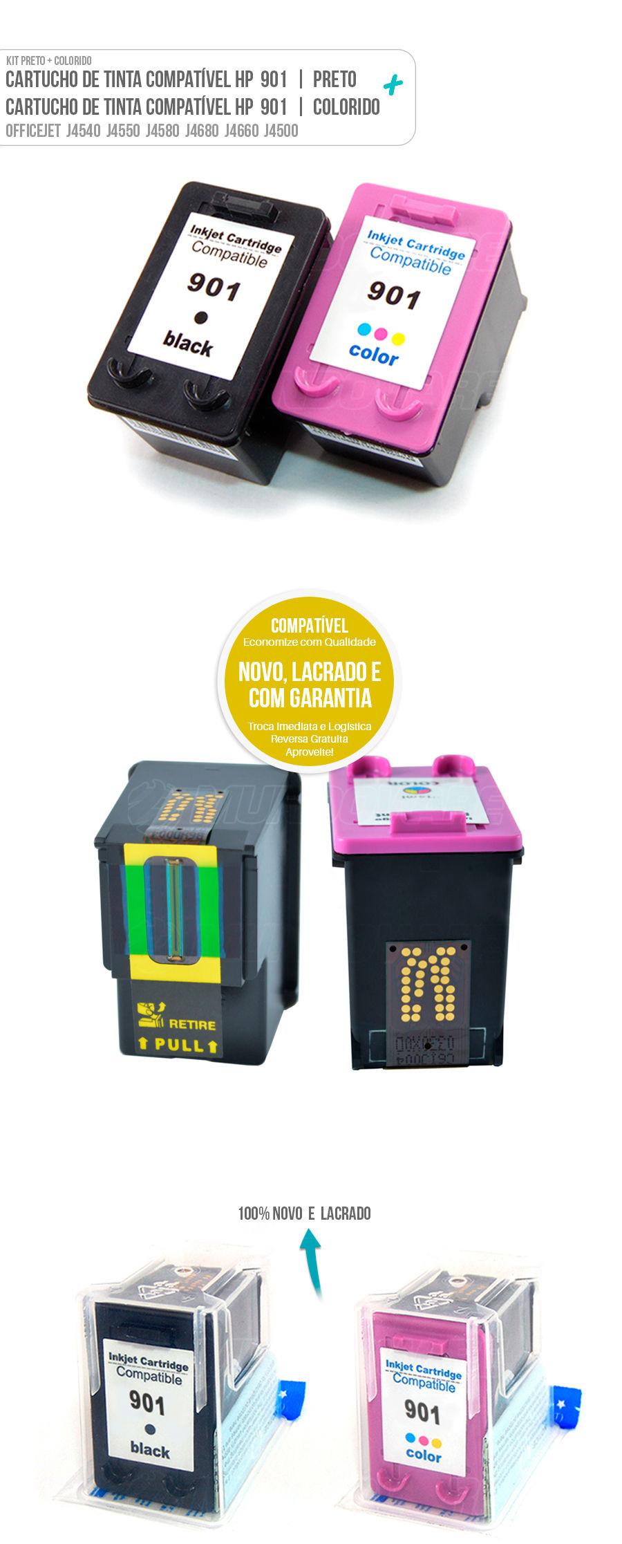 Cartucho de Tinta Deskjet Colorido Color Black 901 901xl
