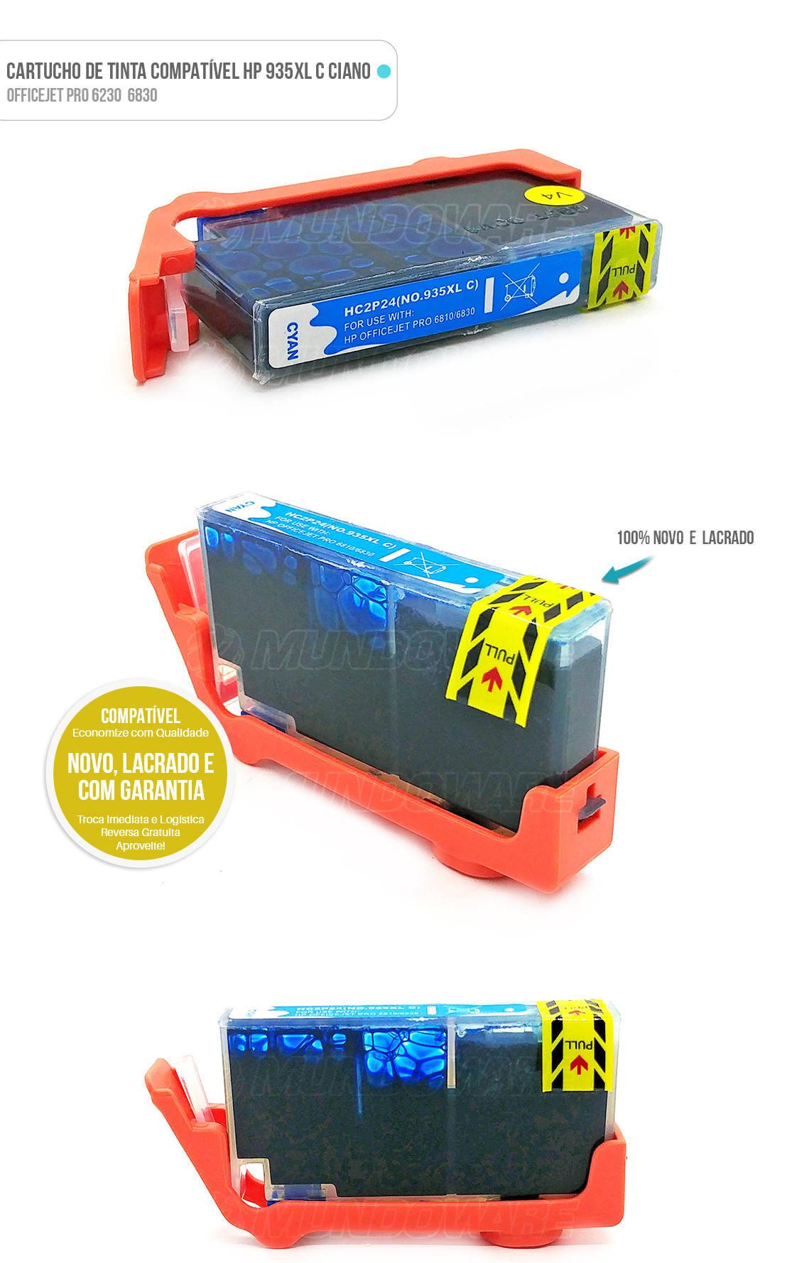 Cartucho de Tinta compatível 935xl 935 xl Ciano para impressora 6230 6830