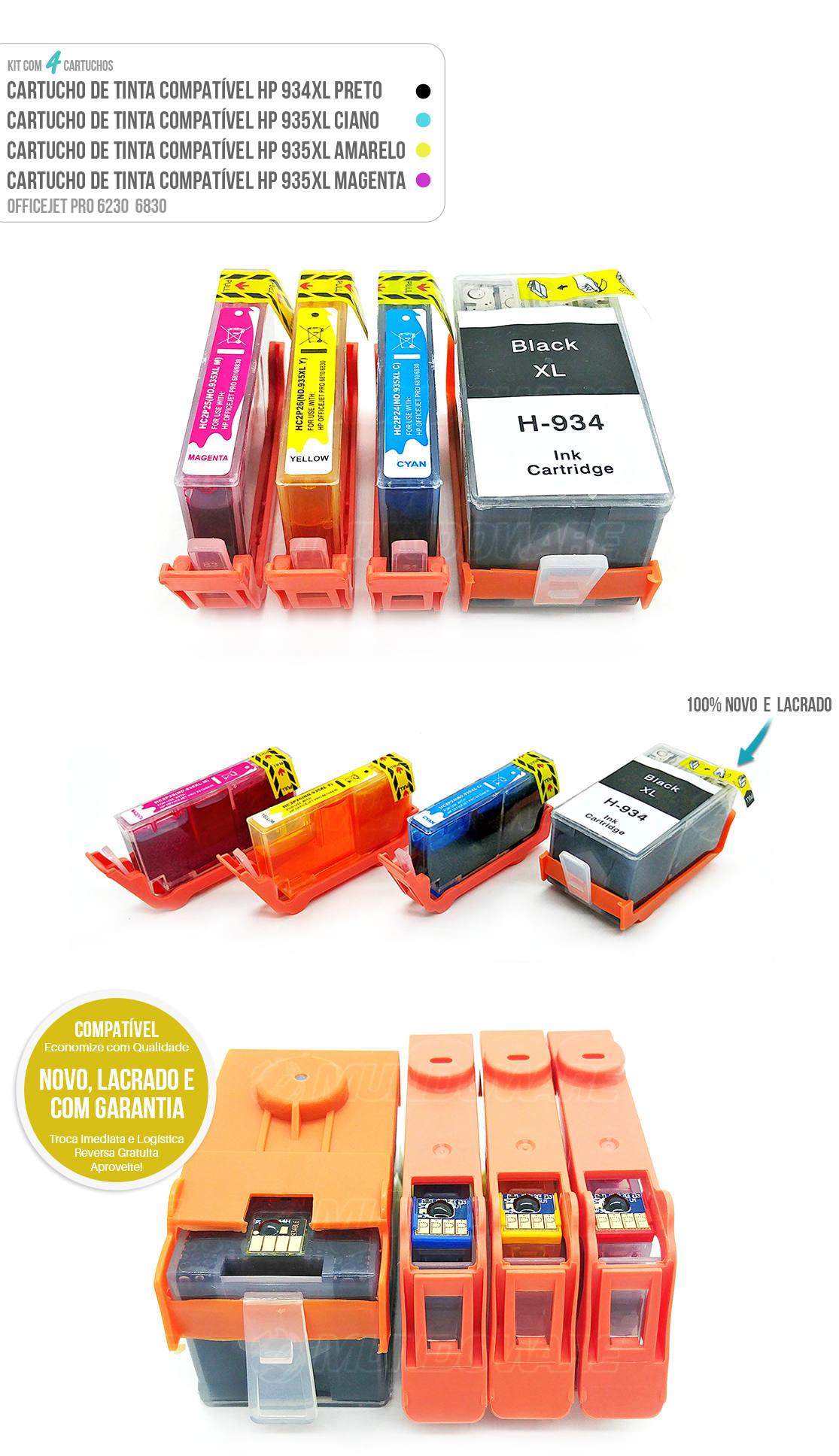 Kit Colorido de Cartucho de Tinta compatível 935xl 934xl para impressora 6230 6830