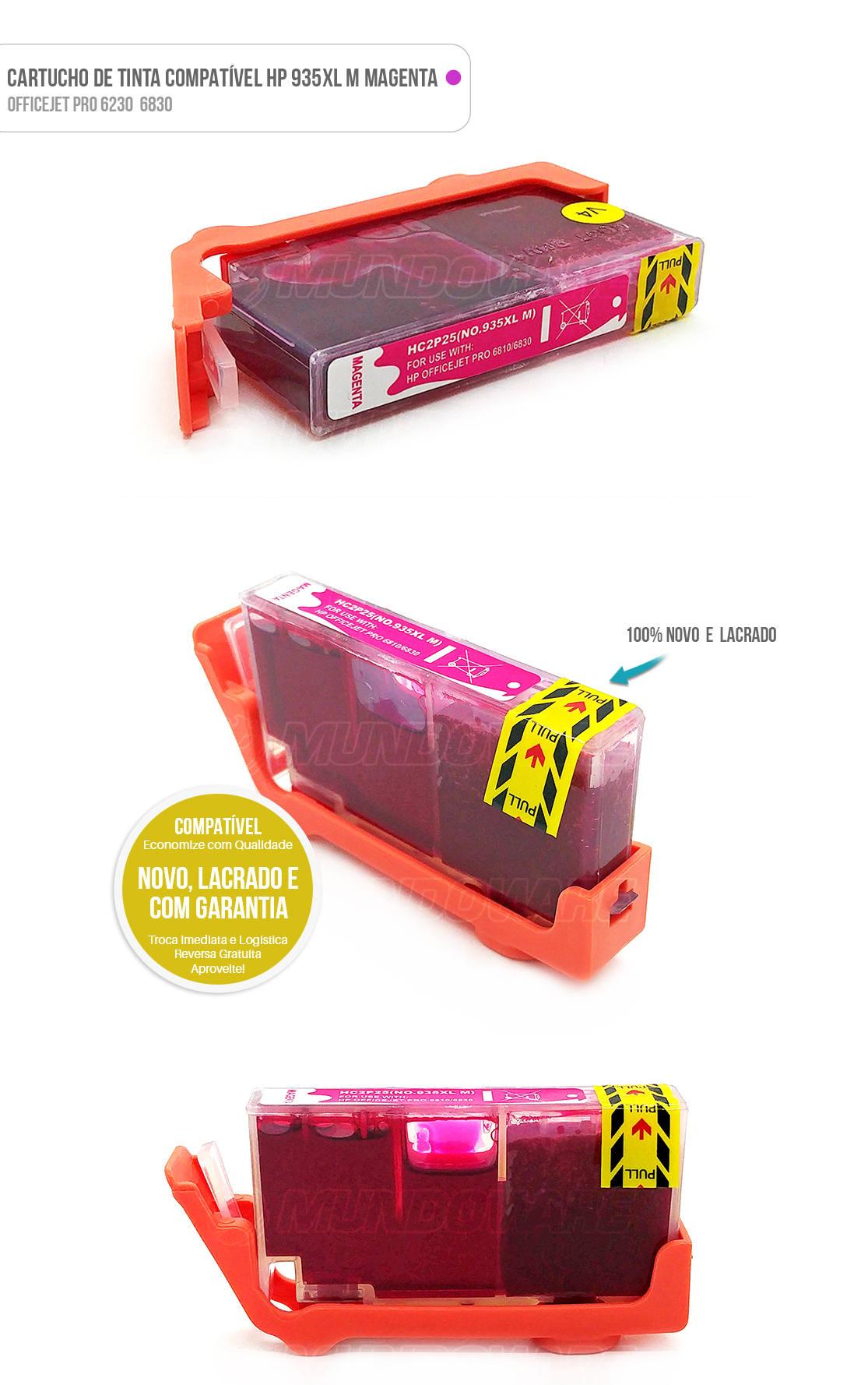 Cartucho de Tinta compatível 935xl 935 xl magenta para impressora 6230 6830