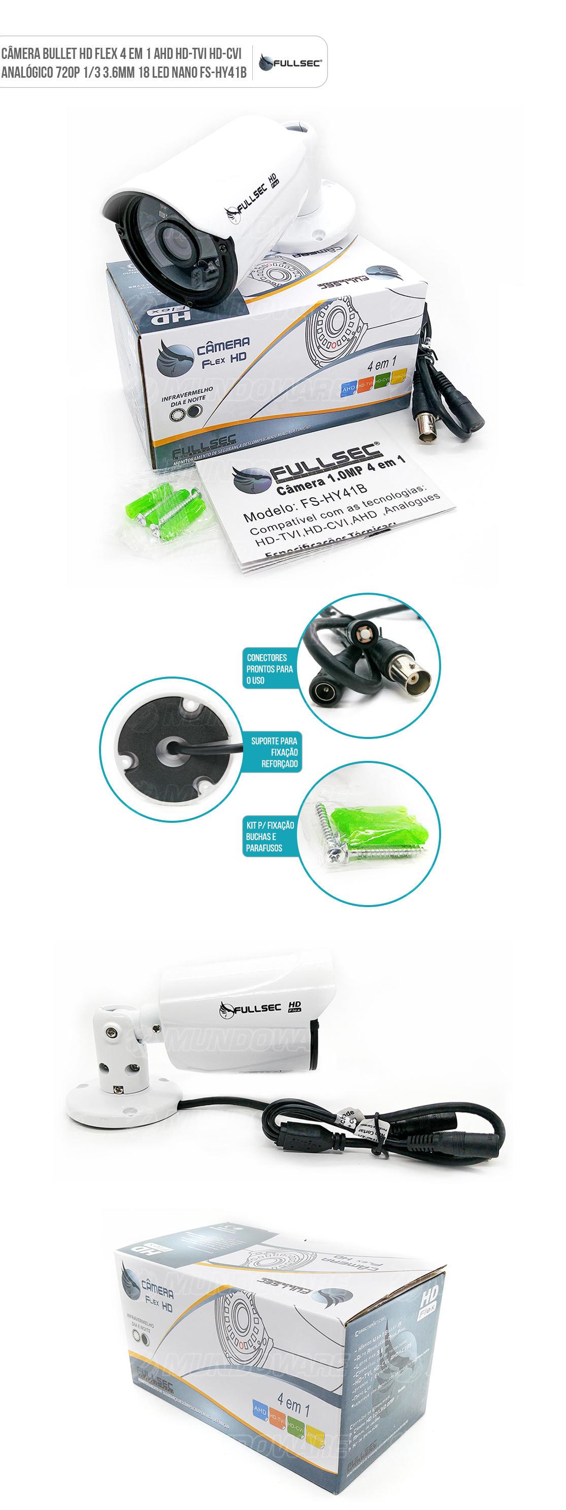 Camêra de Segurança Bullet HD Flex 4x1 AHD HD-TVI HD-CVI Analógica 720p
