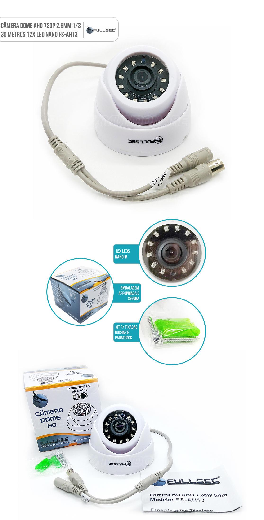Câmera de Segurança Dome HD Flex 4 em 1 AHD HD-TVI HD-CVI Analógico