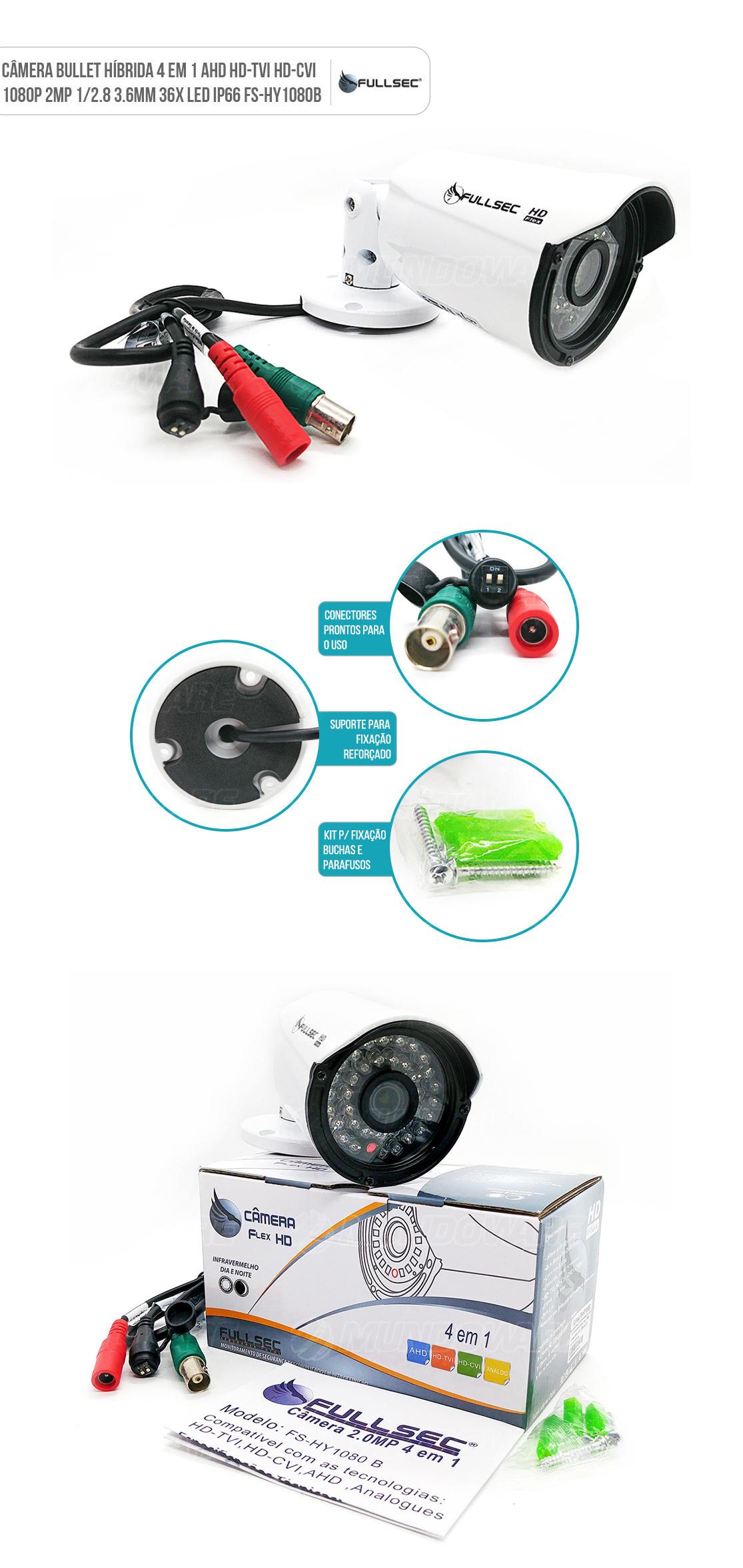 Câmera Bullet 4x1 Híbrido AHD HD-TVI HD-CVI 1/2.8 2MP 1080p 2 Megapixel