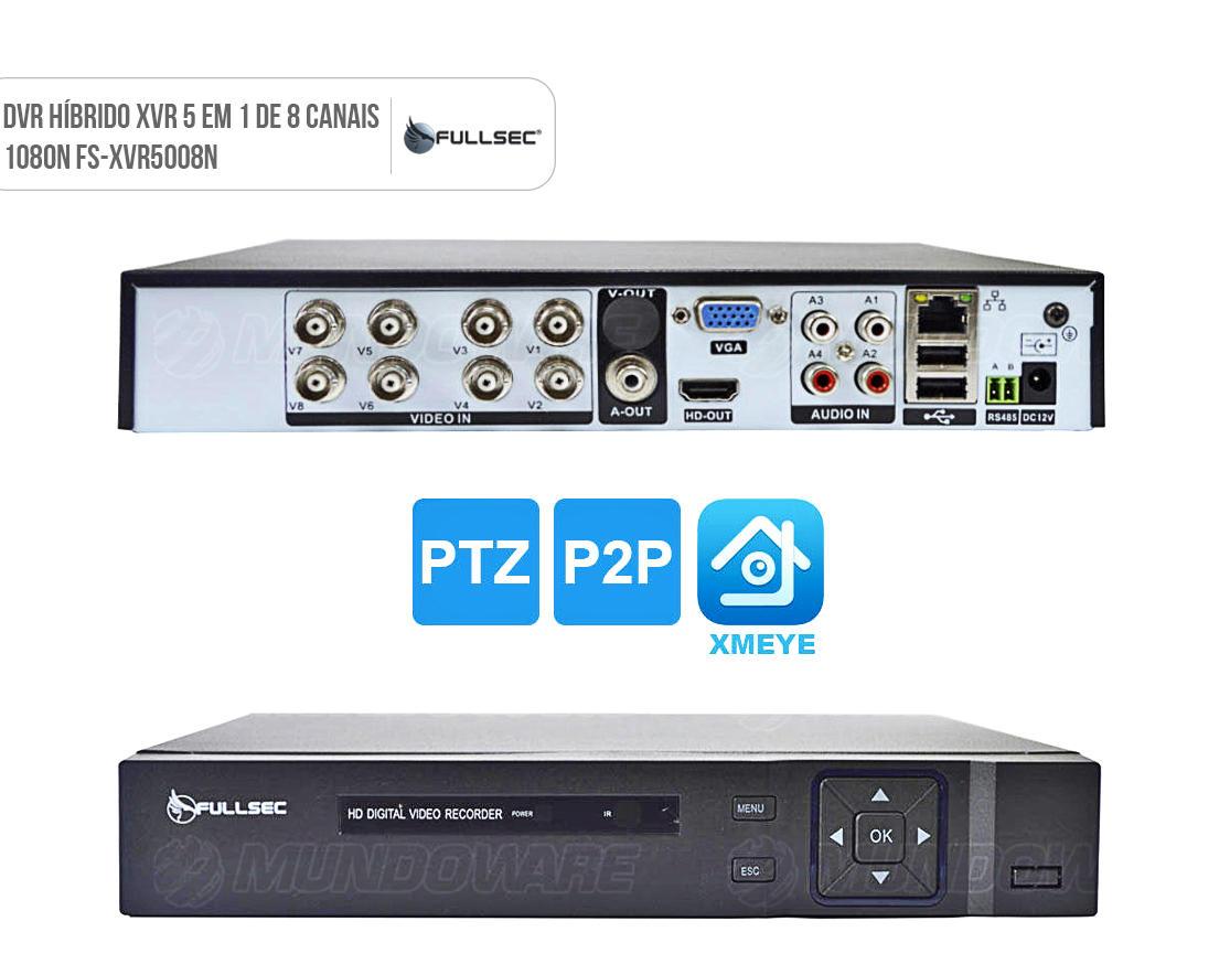 DVR Gravador de Vídeo para CFTV de 8 canais XVR 5 em 1 1080N