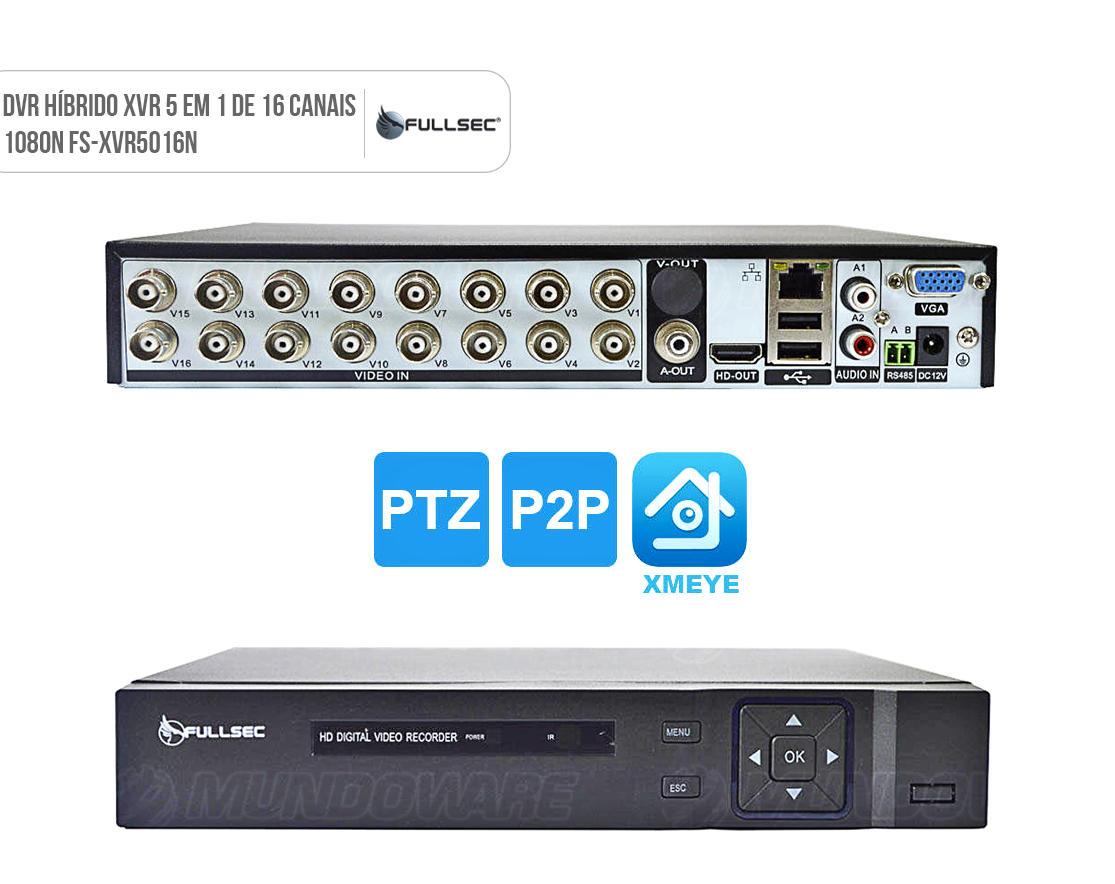 DVR 16 canais Gravador de Vídeo para CFTV XVR 5 em 1 1080N