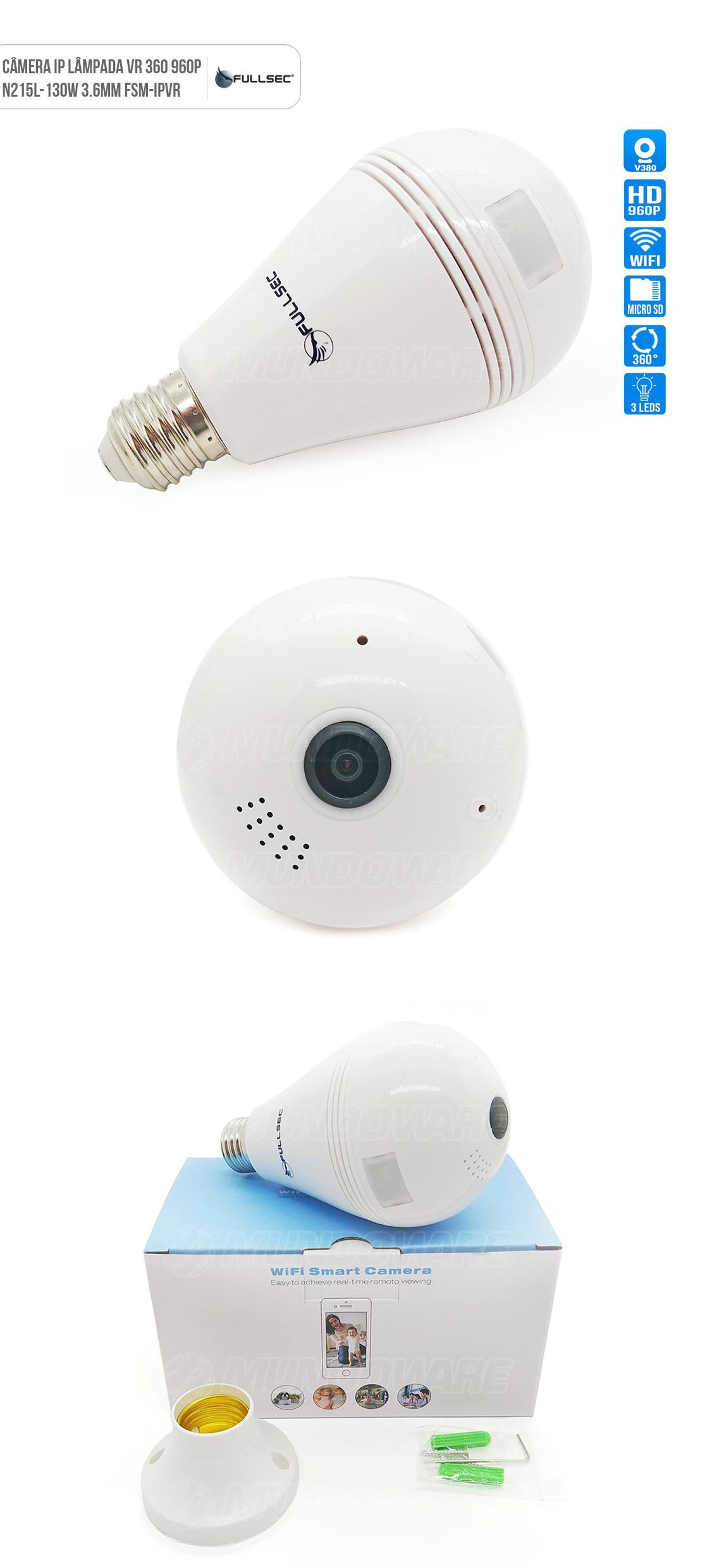 Camera Lâmpada IP VR 360º Panorâmica HD 960P