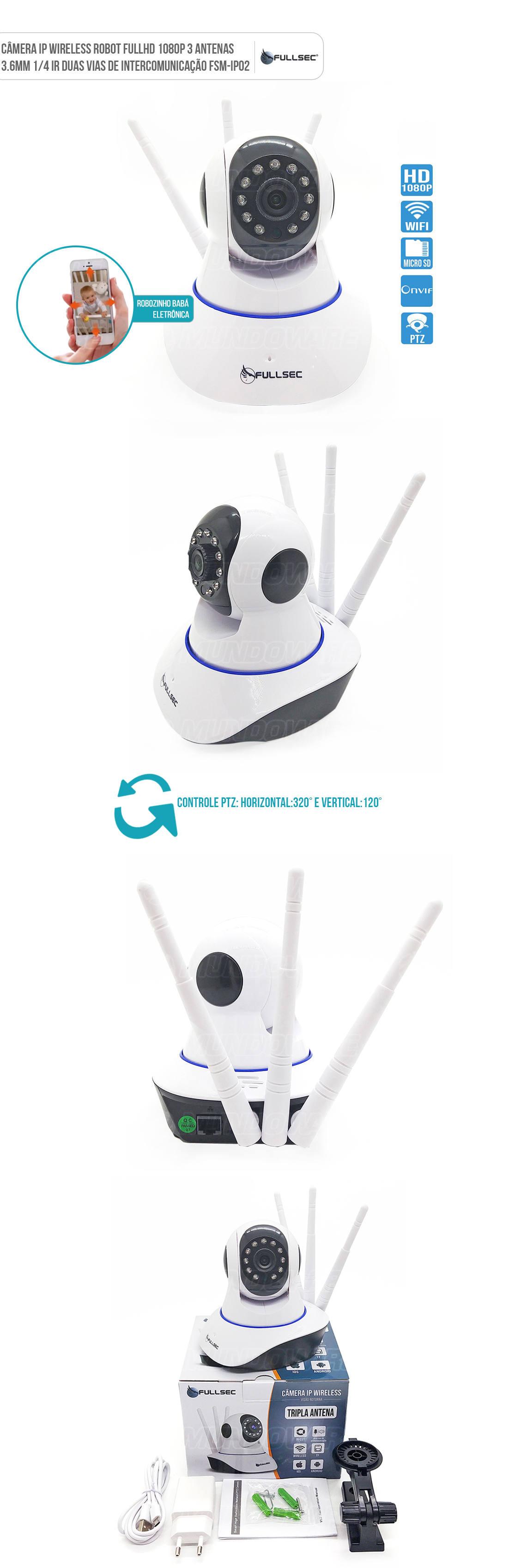Camera IP Robot Babá Eletrônica 2 MP 1080P 10m Dia e Noite Microfone Integrado 3 Antenas