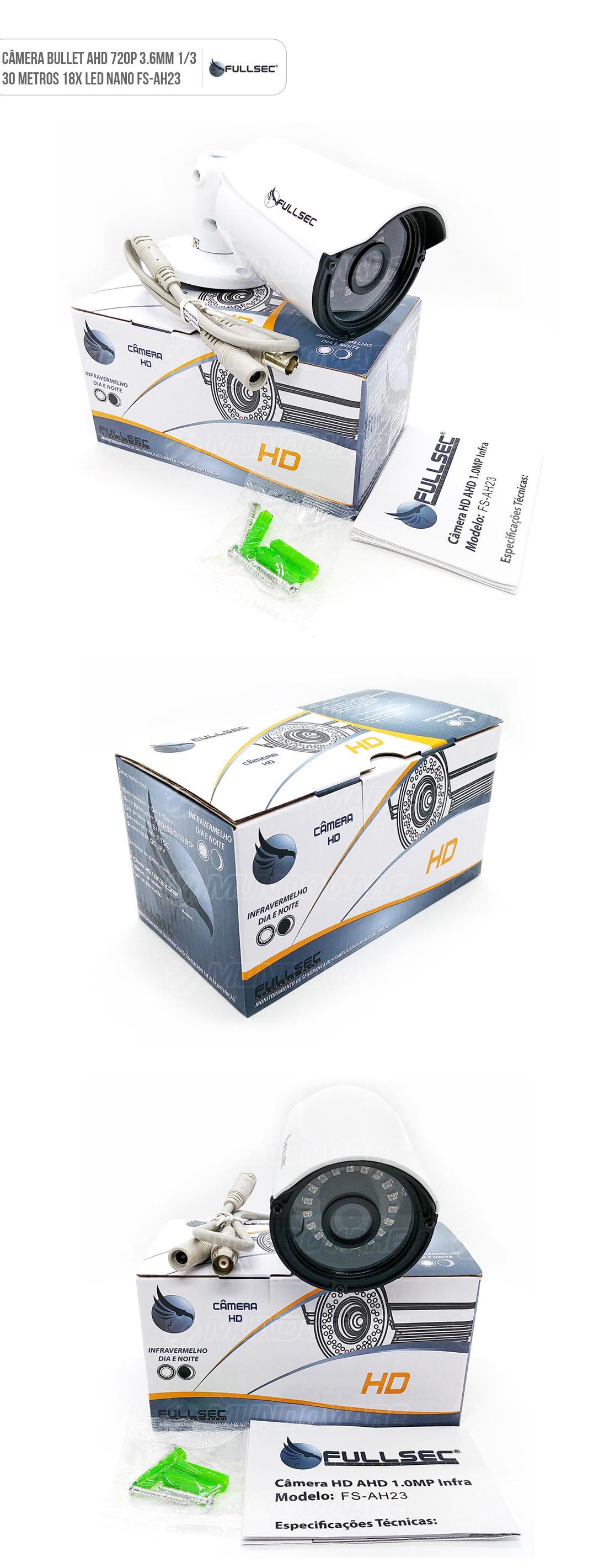 Camêra de Segurança Bullet AHD 720 pixels 3.6mm 18x LED