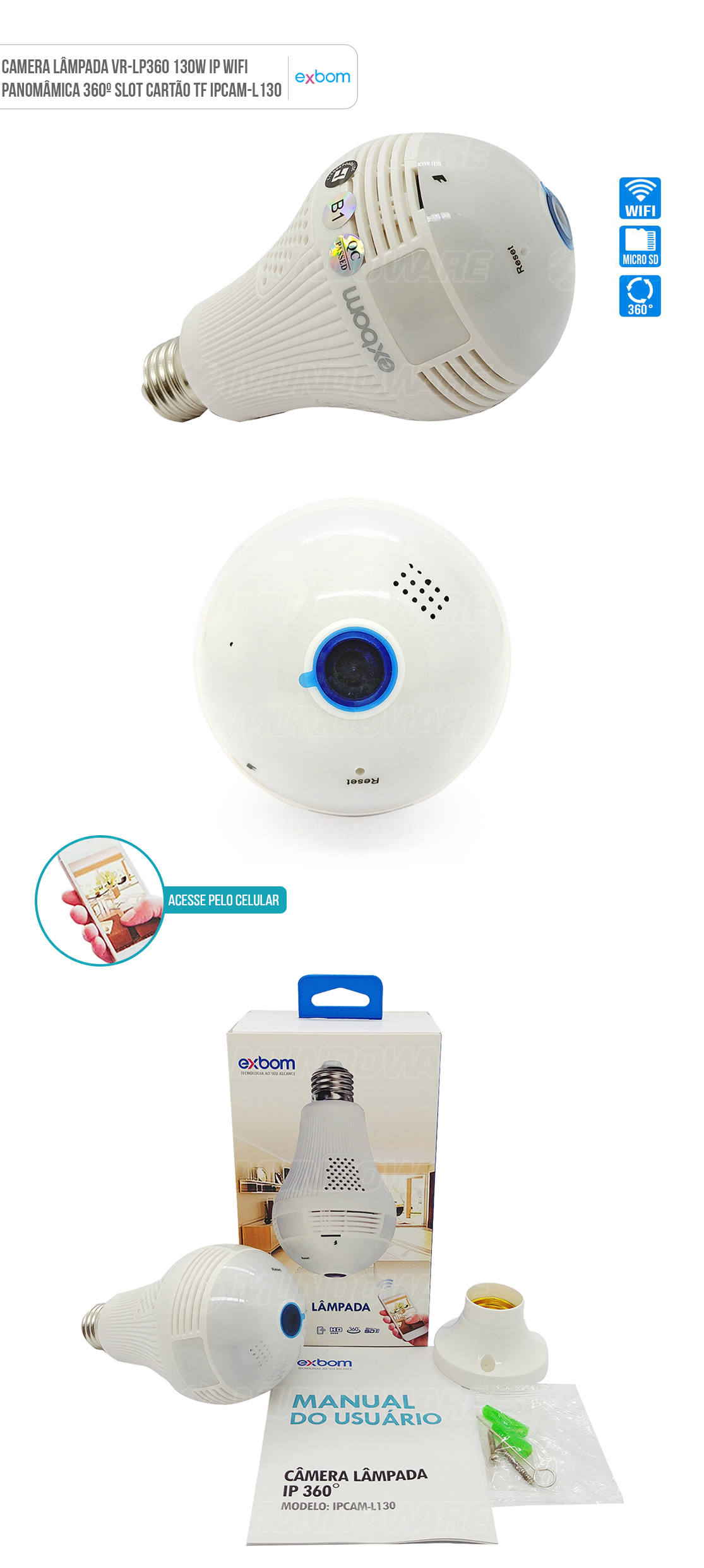 Camera Lâmpada IP 360 graus Panorâmica 2MP L130
