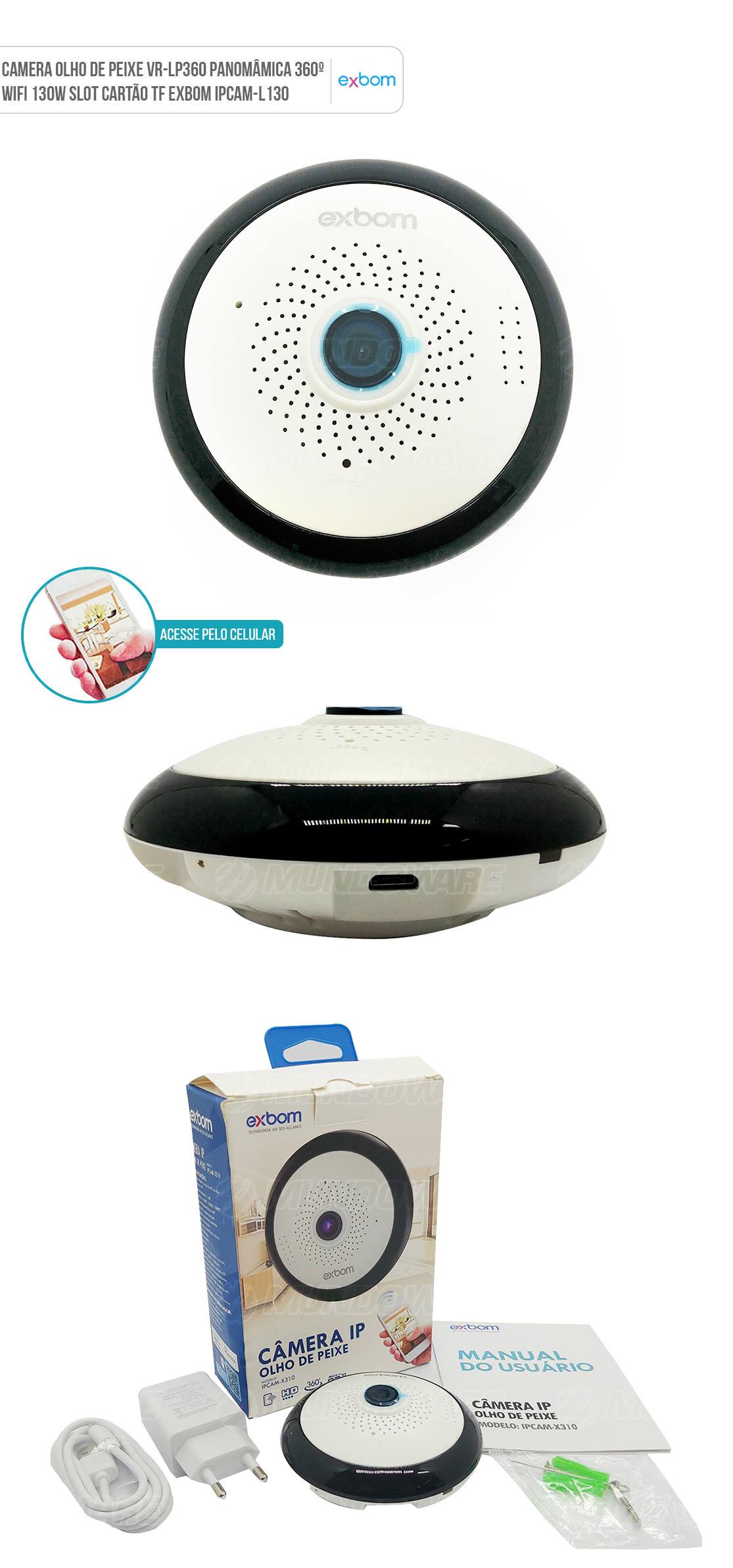 Camera Olho de Peixe IP 360 graus Panorâmica 1.3MP X310