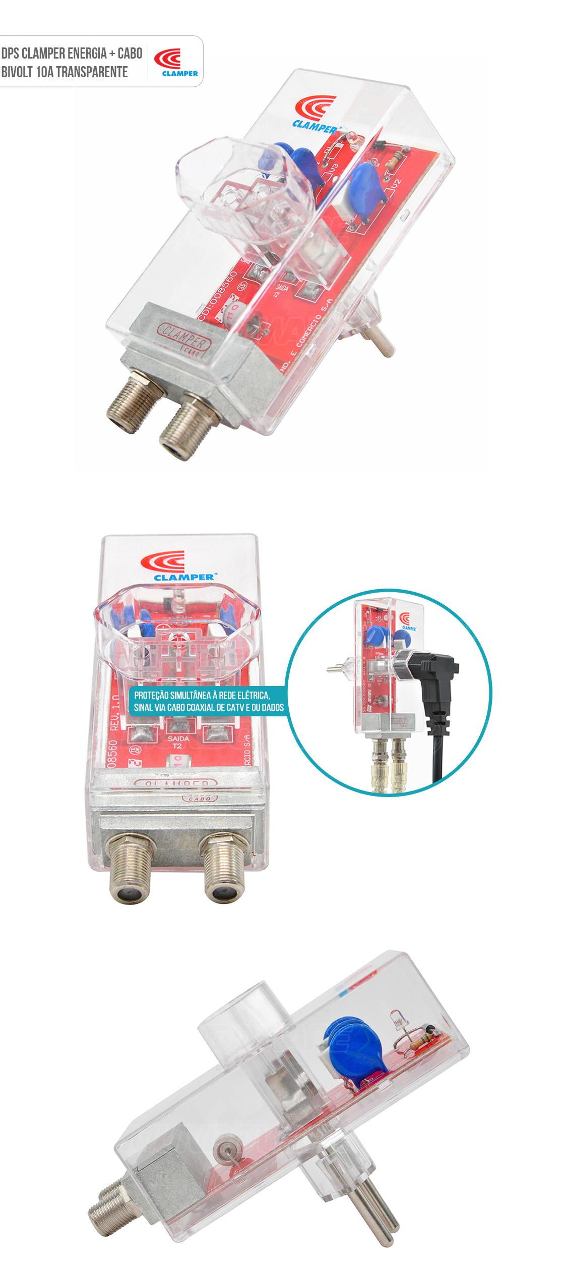 DPS Clamper Energia + Cabo Proteção contra Raios e Surtos na Rede Elétrica e via Cabo Coaxial Bivolt 10A Transparente