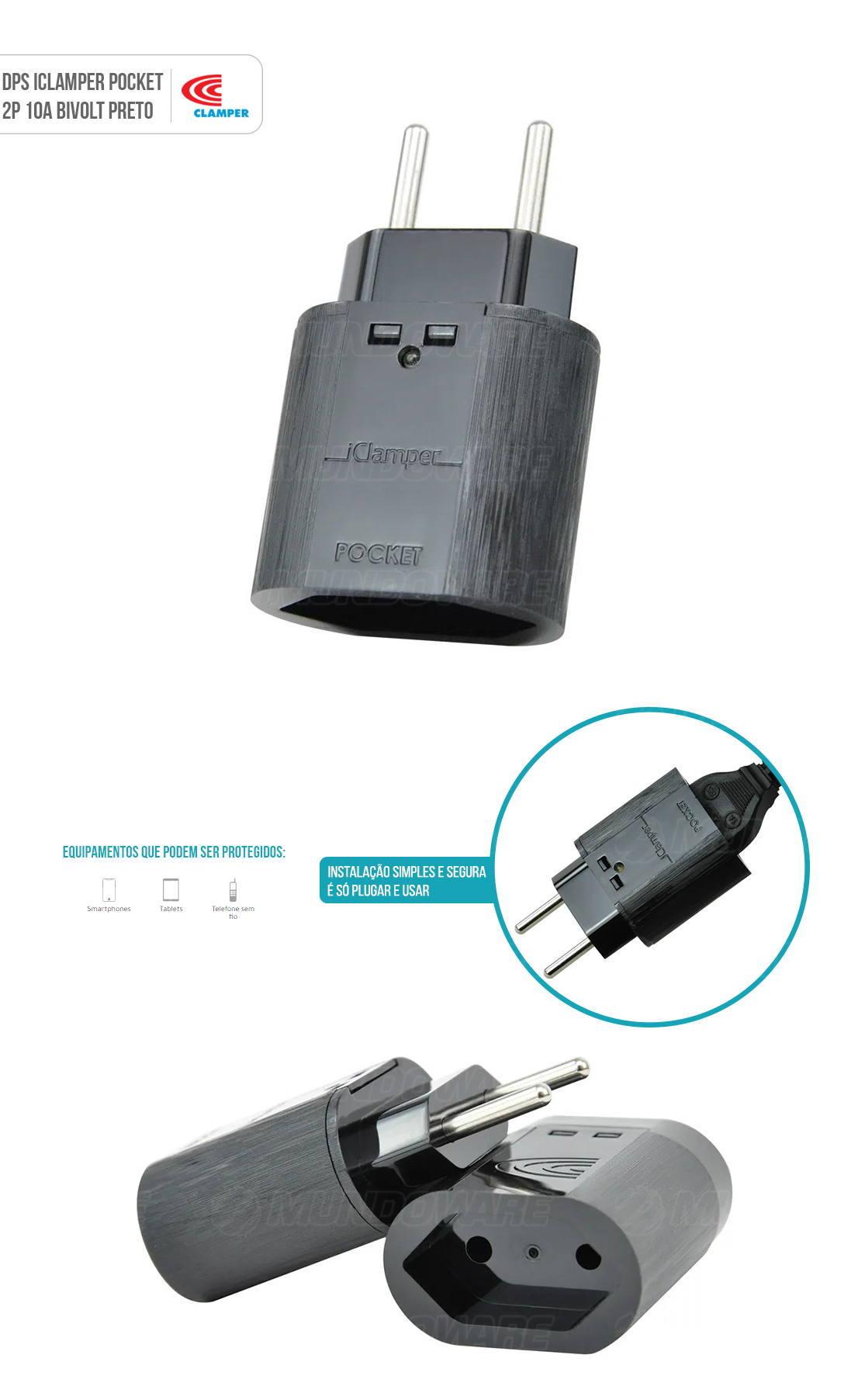 DPS iClamper Pocket 2 Pinos 10A Proteção contra Surtos Elétricos em Ambientes Sem Aterramento Clamper 2P Preto
