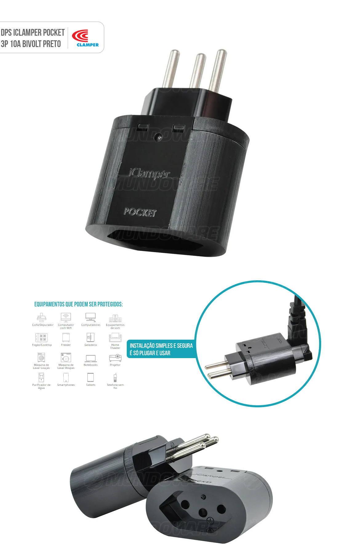 DPS iClamper Pocket 3 Pinos 10A Proteção contra Surtos Elétricos em Ambientes mesmo sem Aterramento Clamper 3P Preto