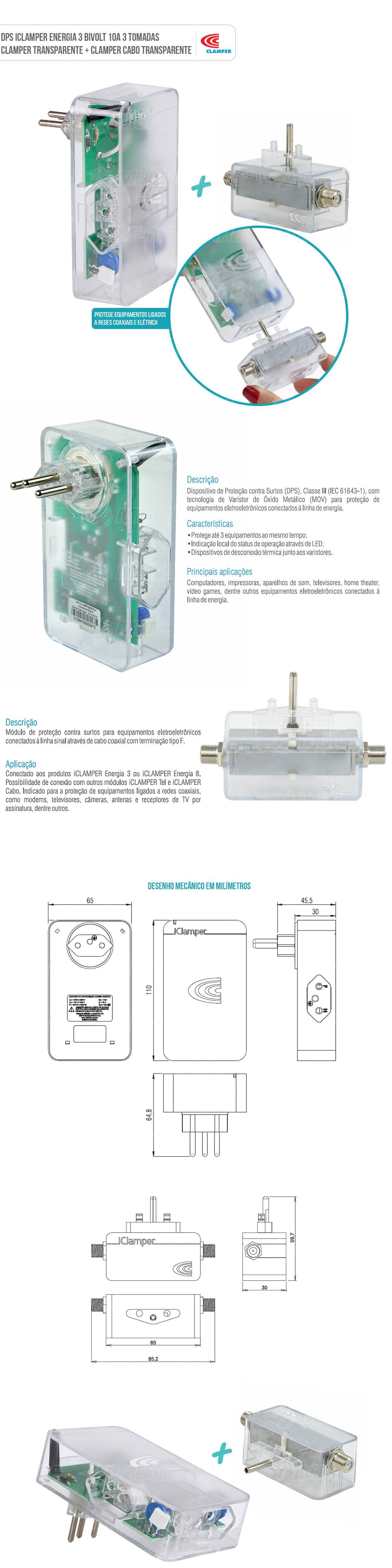 Combo DPS Clamper 3 Tomadas 10A Bivolt Energia 3 + iClamper Cabo para cabo coaxial para Proteção contra Raios e Surtos