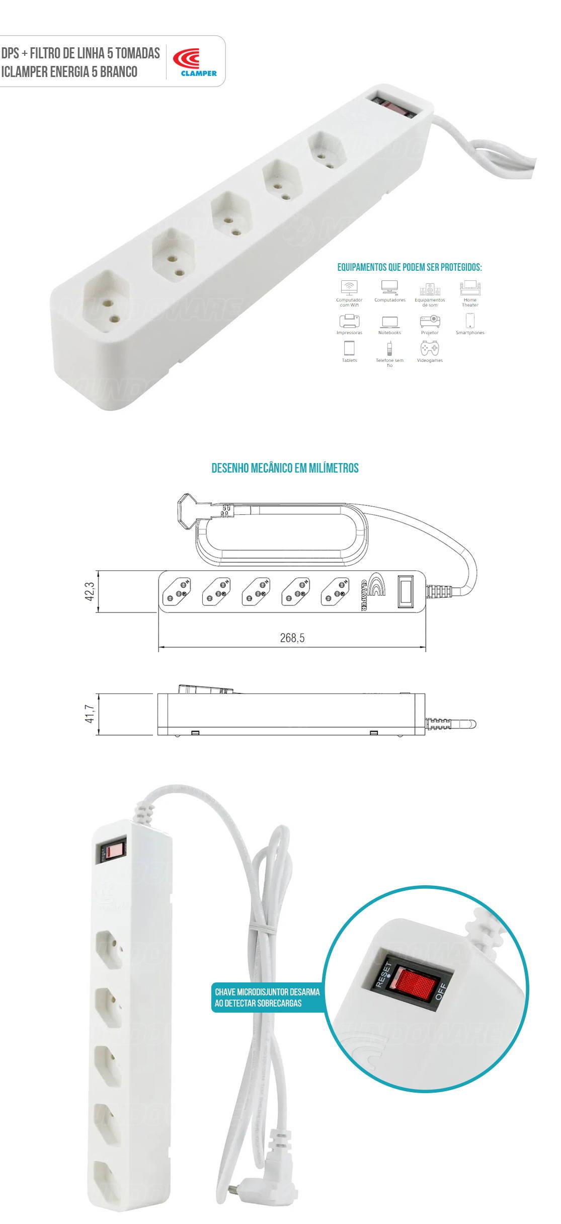 DPS + Filtro de Linha Bivolt 5 Tomadas Protege contra Sobrecarga Curto Surtos Elétricos Clamper Energia 5 Branco