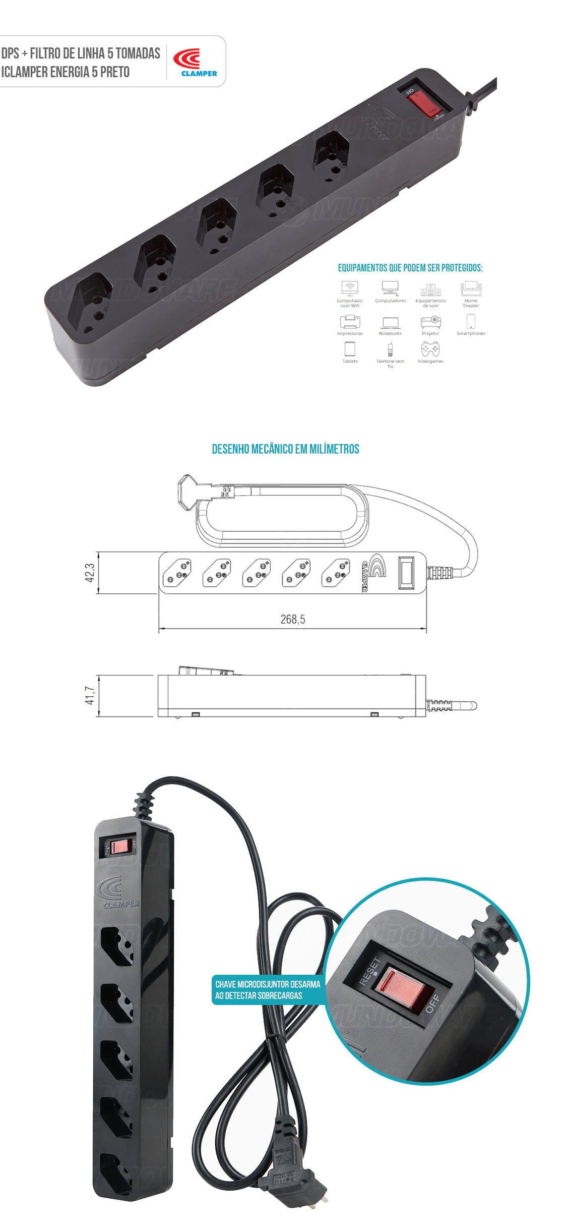 DPS + Filtro de Linha Bivolt 5 Tomadas Protege contra Sobrecarga Curto Surtos Elétricos Clamper Energia 5 Preto
