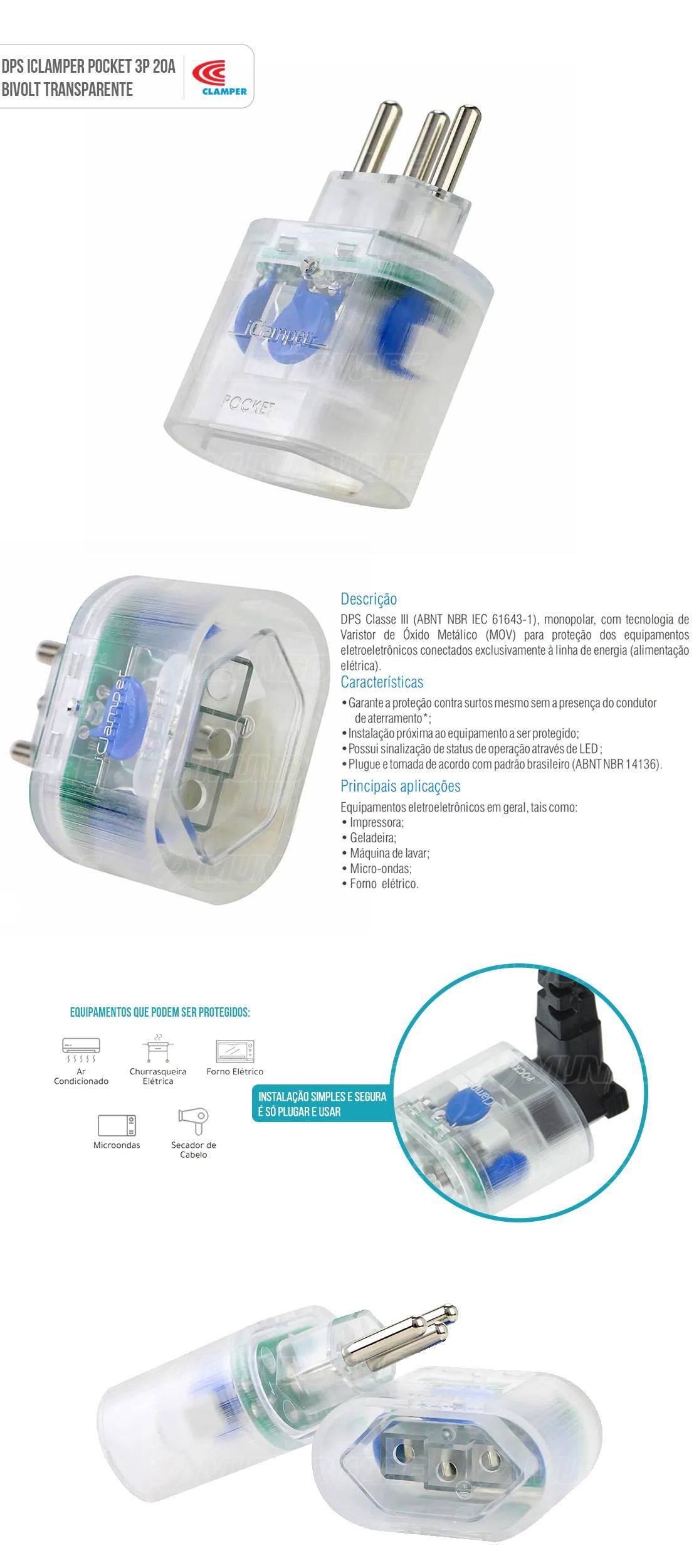 DPS Portátil iClamper Pocket 3 Pinos 20A Proteção contra Surtos Elétricos para Eletroeletrônicos Clamper 3P Transparente