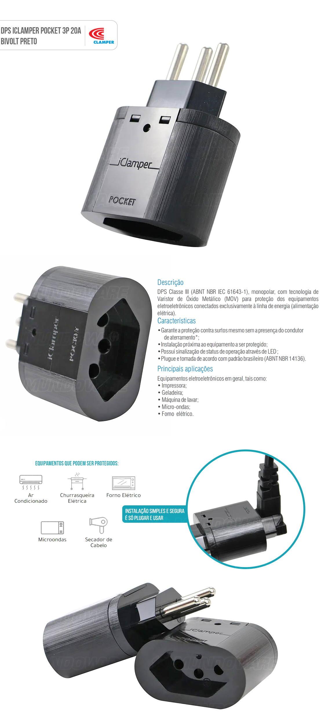 iClamper Pocket 3P 20A DPS Clamper Preto Proteção Total Contra Raios e Surtos Elétricos para seus Eletroeletrônicos