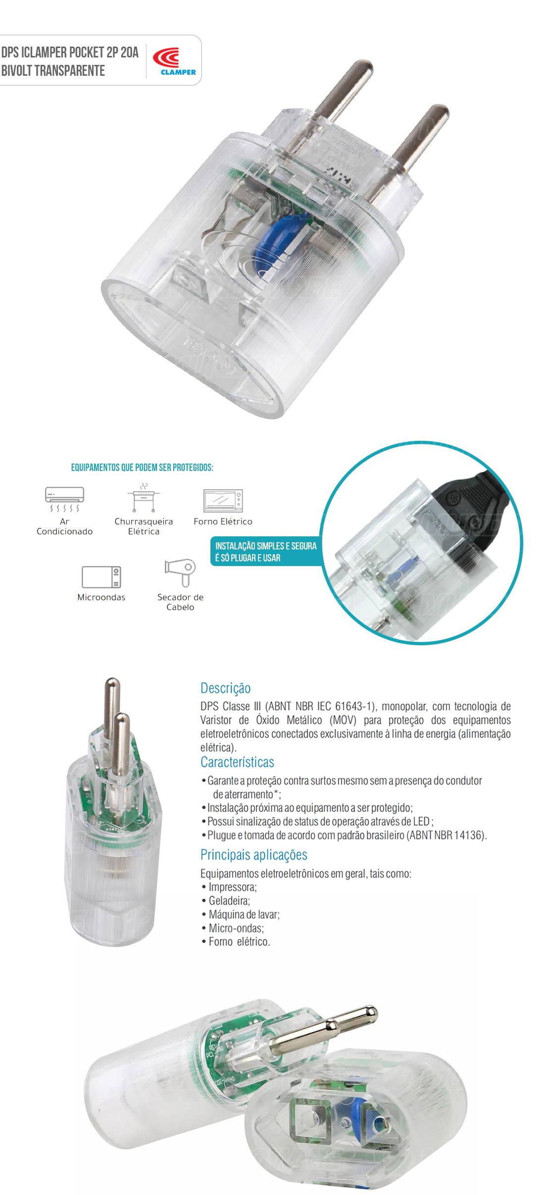 DPS Clamper Pocket iClamper 2P 20A Transparente Proteção Total Contra Raios e Surtos Elétricos para seus Eletroeletrônicos