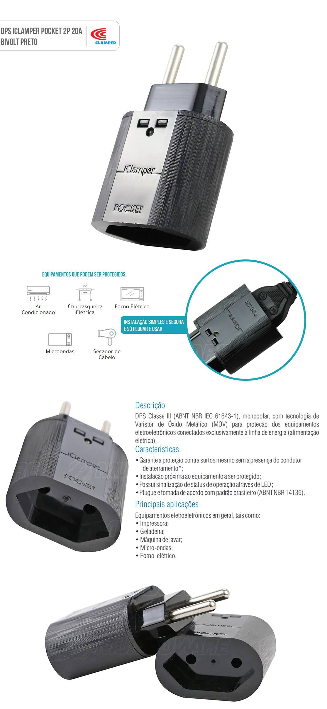iClamper Pocket 2P 20A DPS Clamper Preto Proteção Total Contra Raios e Surtos Elétricos para seus Eletroeletrônicos