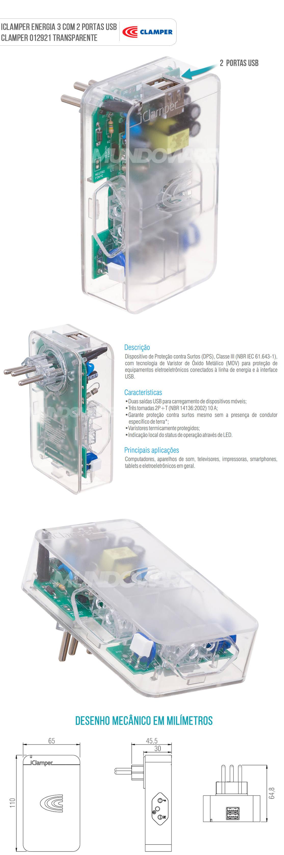 DPS ICLAMPER Energia 3 com 2 Portas USB Proteção Total contra Surtos Elétricos Transparente