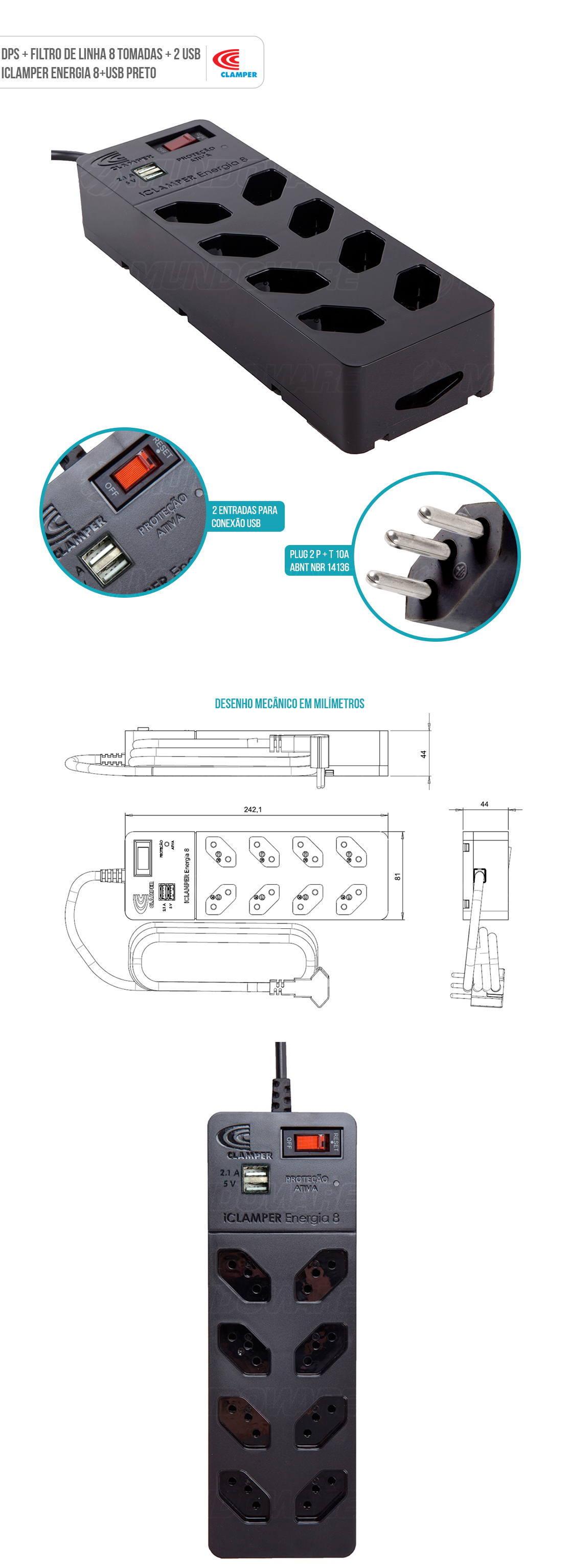 DPS com Filtro de Linha 8 Tomadas 2 USB Proteção Robusta contra Surtos Elétricos iClamper Energia 8 Clamper Preto