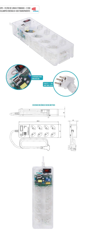 DPS com Filtro de Linha 8 Tomadas 2 USB Proteção Robusta contra Surtos Elétricos iClamper Energia 8 Clamper Transparente