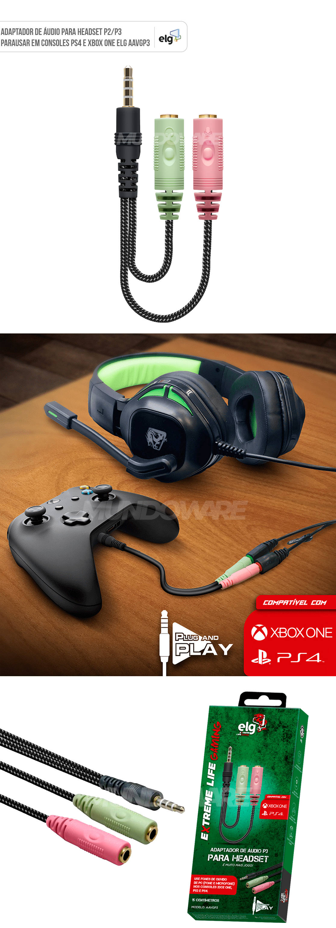 Cabo Adaptador de Áudio P2/P3 para Headset Compatível para usar em Consoles PS4 Xbox Onee Elg AAVGP3