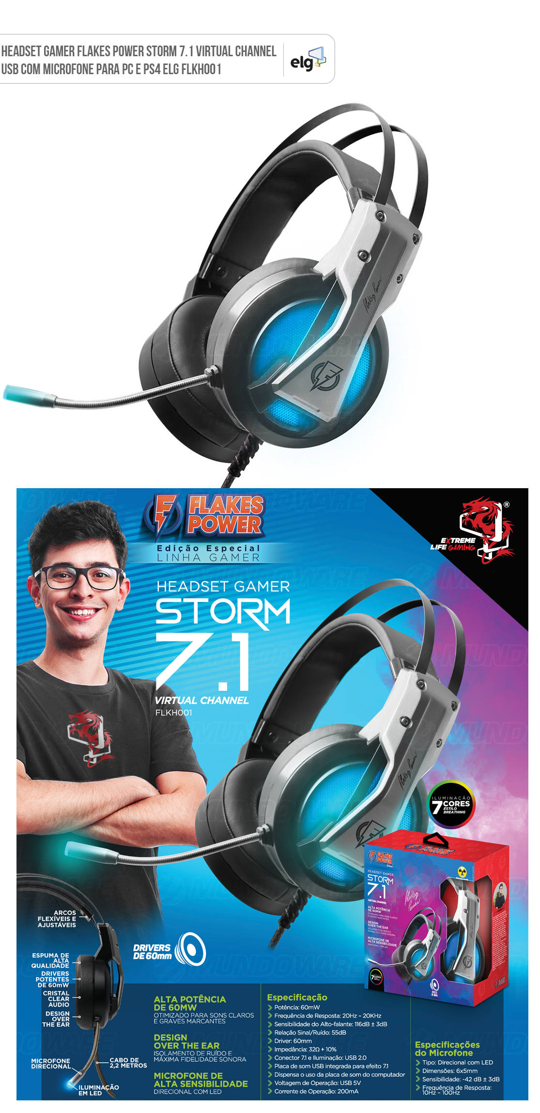 Headset Gamer Flakes Power STORM 7.1 Virtual Channel Com Microfone ELG FLKH001