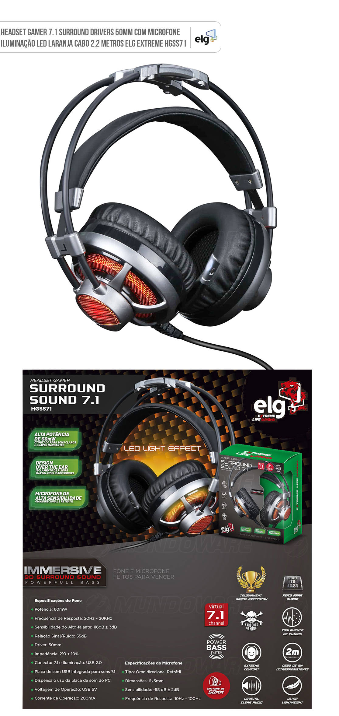 Headset Gamer 7.1 Surround com Microfone Led Laranja Drivers 50mm Cabo 2,2 Metros ELG EXTREME HGSS71
