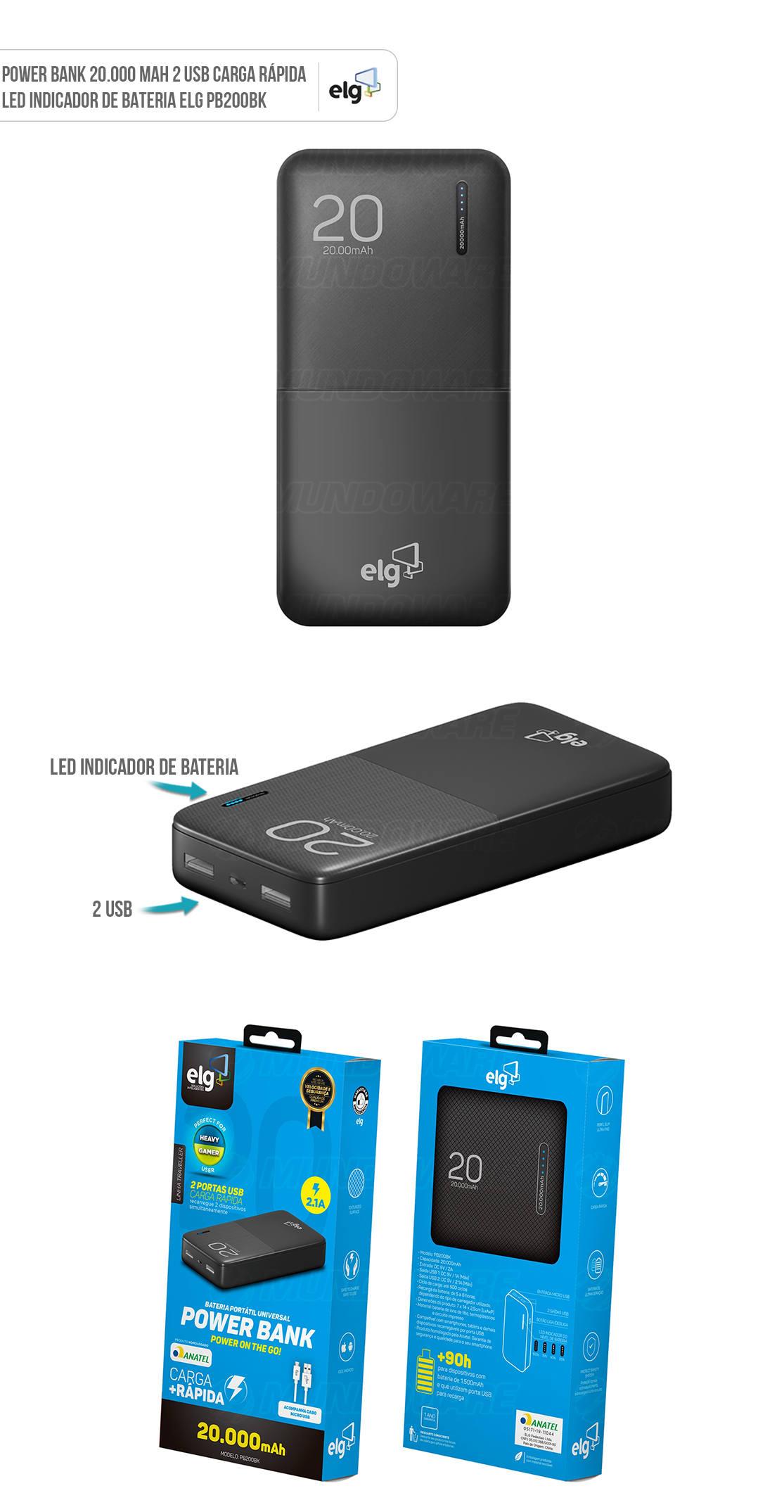 Power Bank 20.000mAh 2 USB LED indicador de Bateria Linha Traveller Homologado Anatel ELG PB200BK Preto