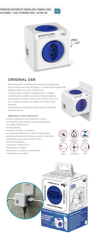 PowerCube Adaptador de Tomadas com 4 Tomadas Livres de Bloqueio + 2 USB 2.4A Original Bivolt 10A PWC-R4U