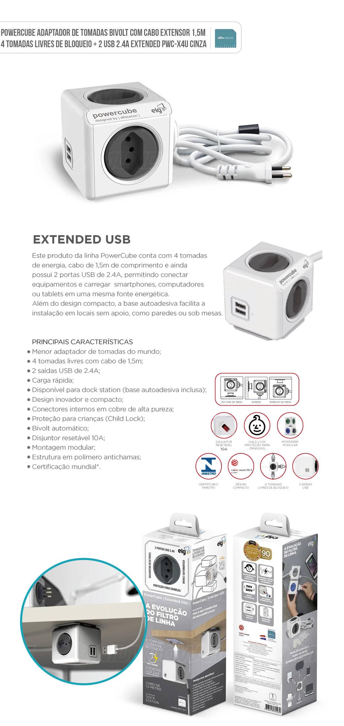 PowerCube Adaptador de Tomadas Bivolt com Cabo Extensor 1,5m com 4 Tomadas Livres de Bloqueio + 2 USB 2.4A PWC-X4U