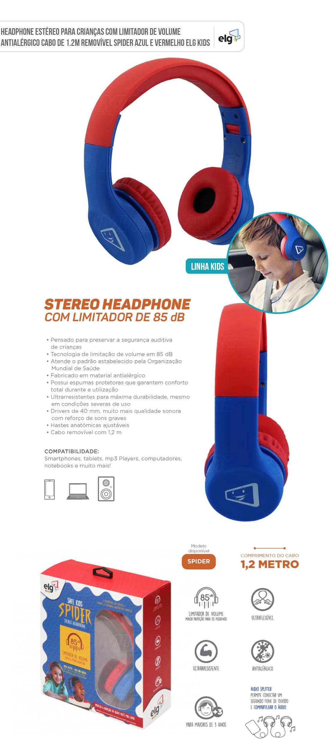 Fone de Ouvido para Crianças com Limitador de Volume Antialérgico Cabo Removível ELG Kids Spider Azul e Vermelho