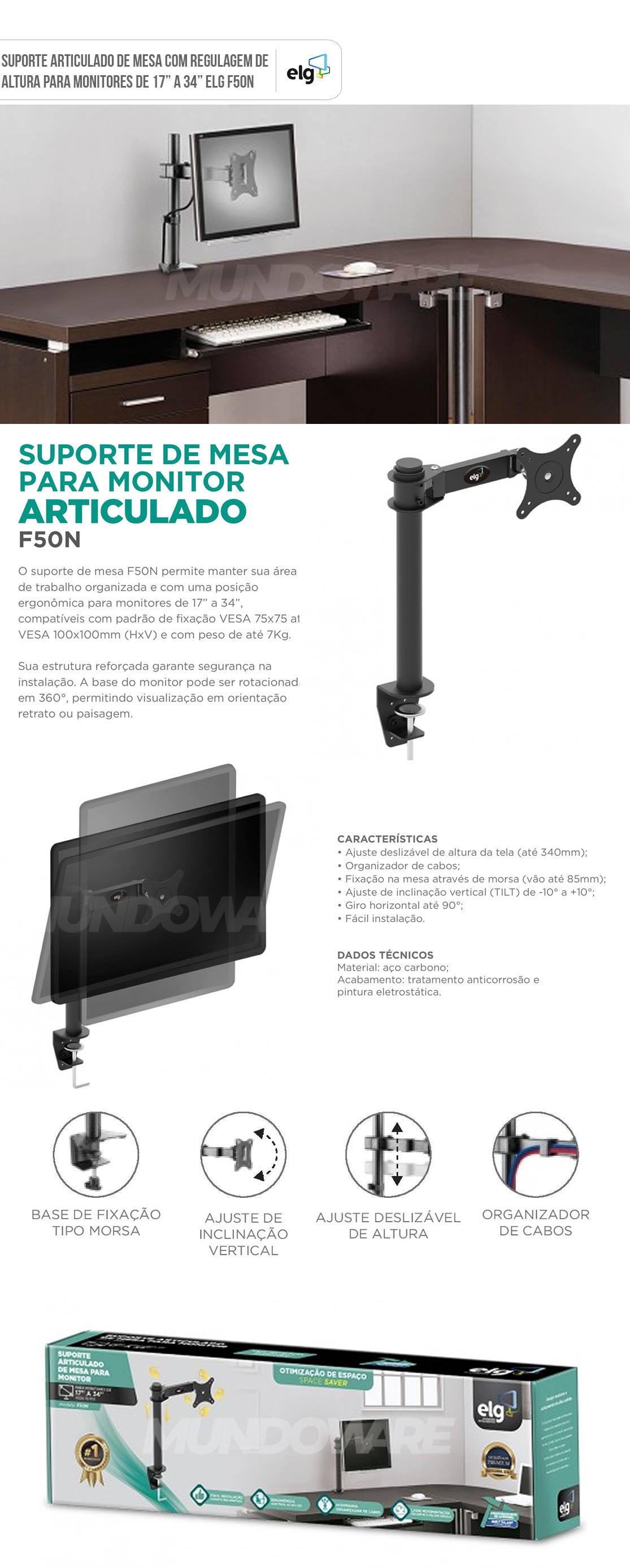 Suporte Articulado de Mesa para Monitor de 17 até 34 ELG F50N